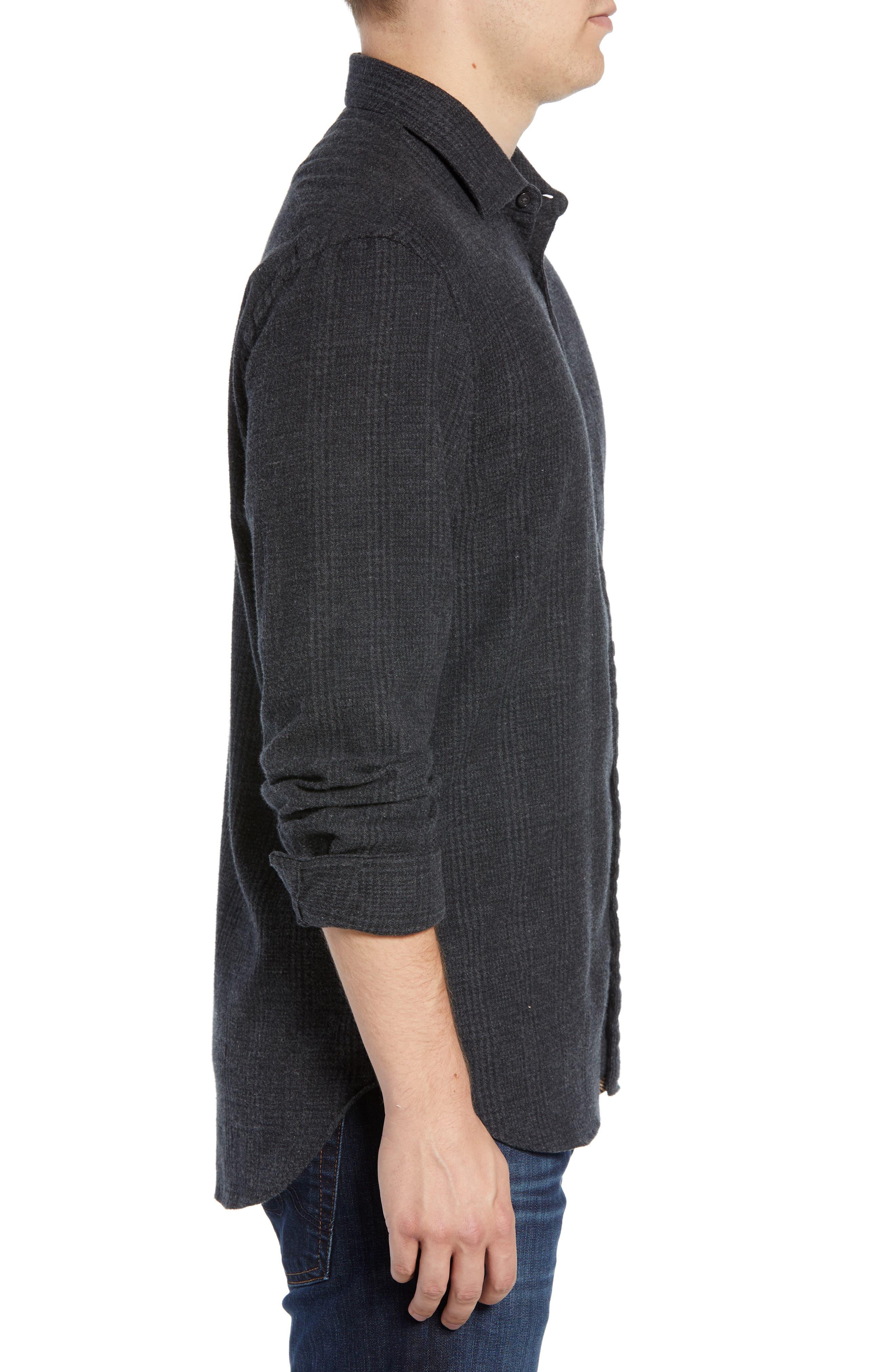 Walker Regular Fit Flannel Sport Shirt,                             Alternate thumbnail 3, color,                             CHARCOAL