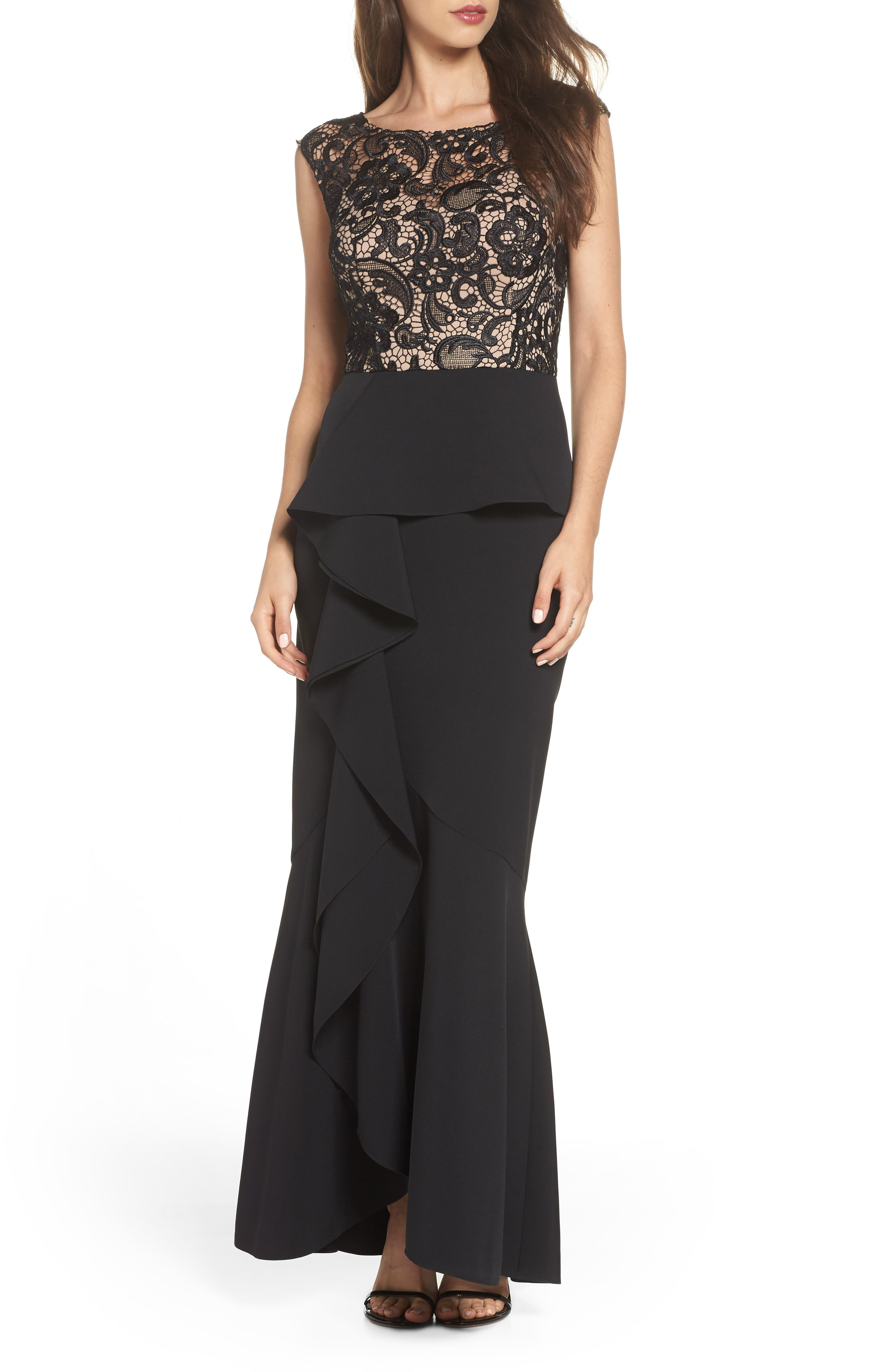Alex Evenings Ruffle Front Trumpet Gown, Black