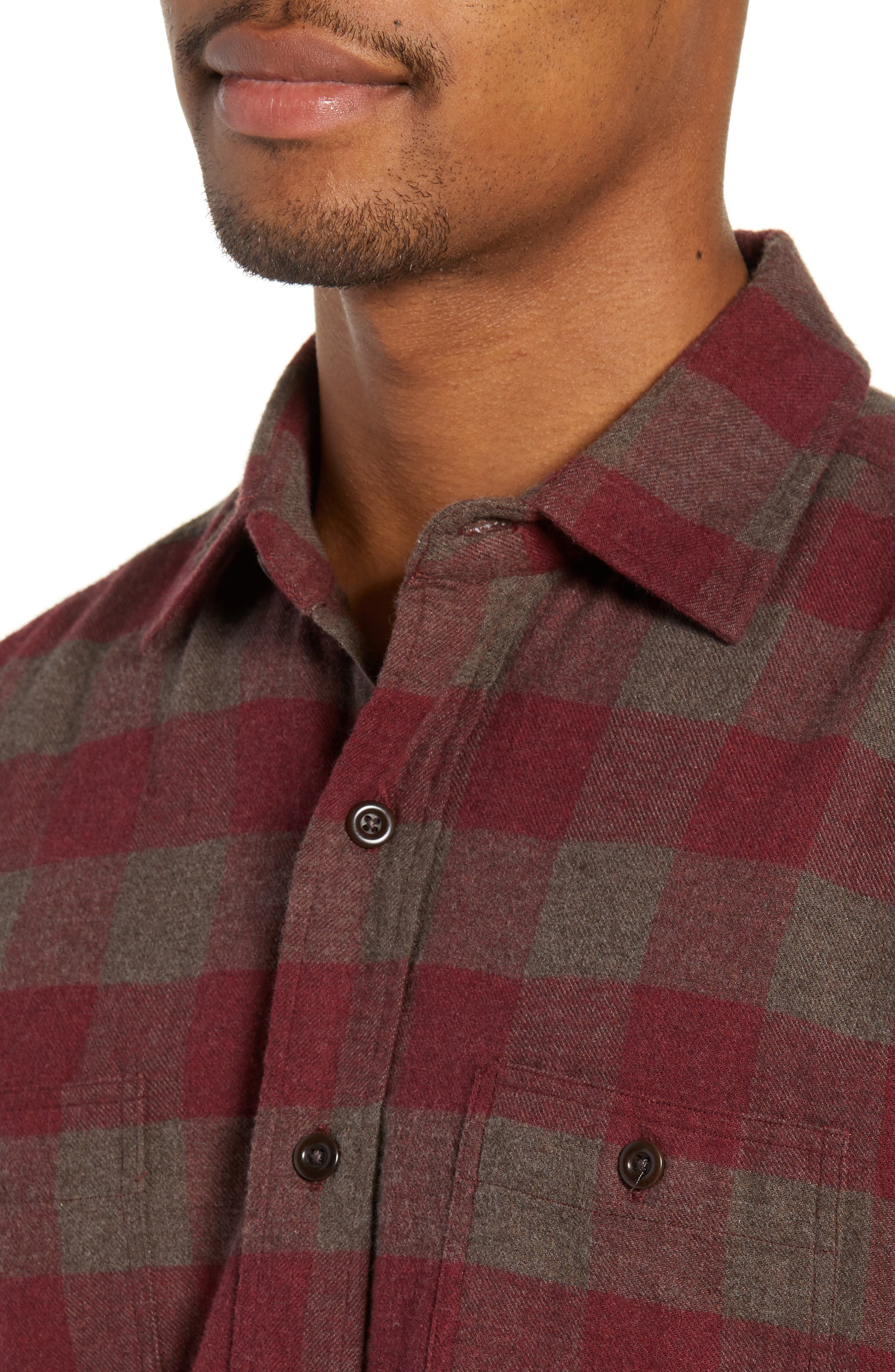 Seasons Regular Fit Check Flannel Shirt,                             Alternate thumbnail 2, color,                             WINE CHESTNUT BUFFALO