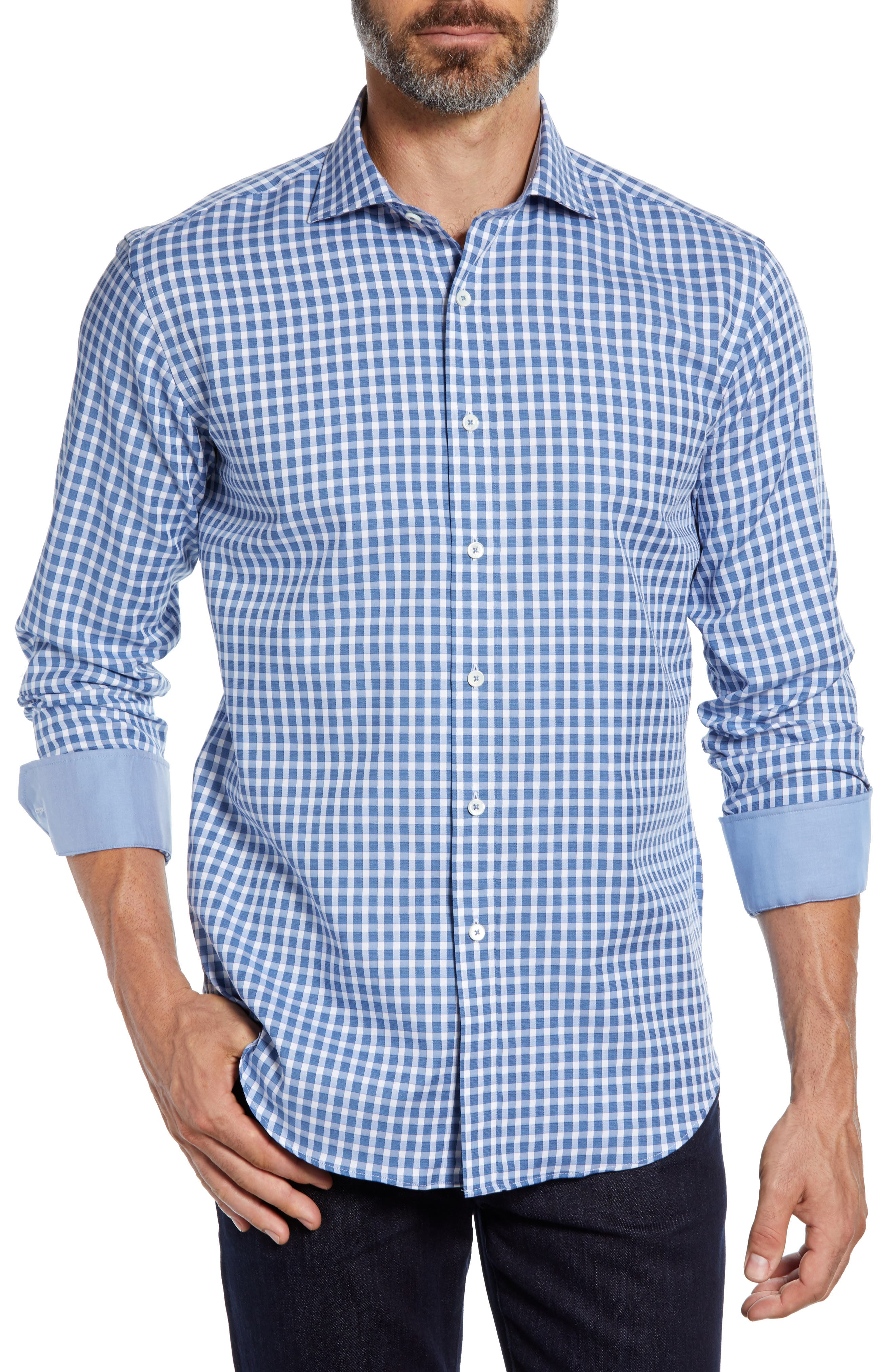 Shaped Fit Check Sport Shirt,                         Main,                         color, AIR BLUE