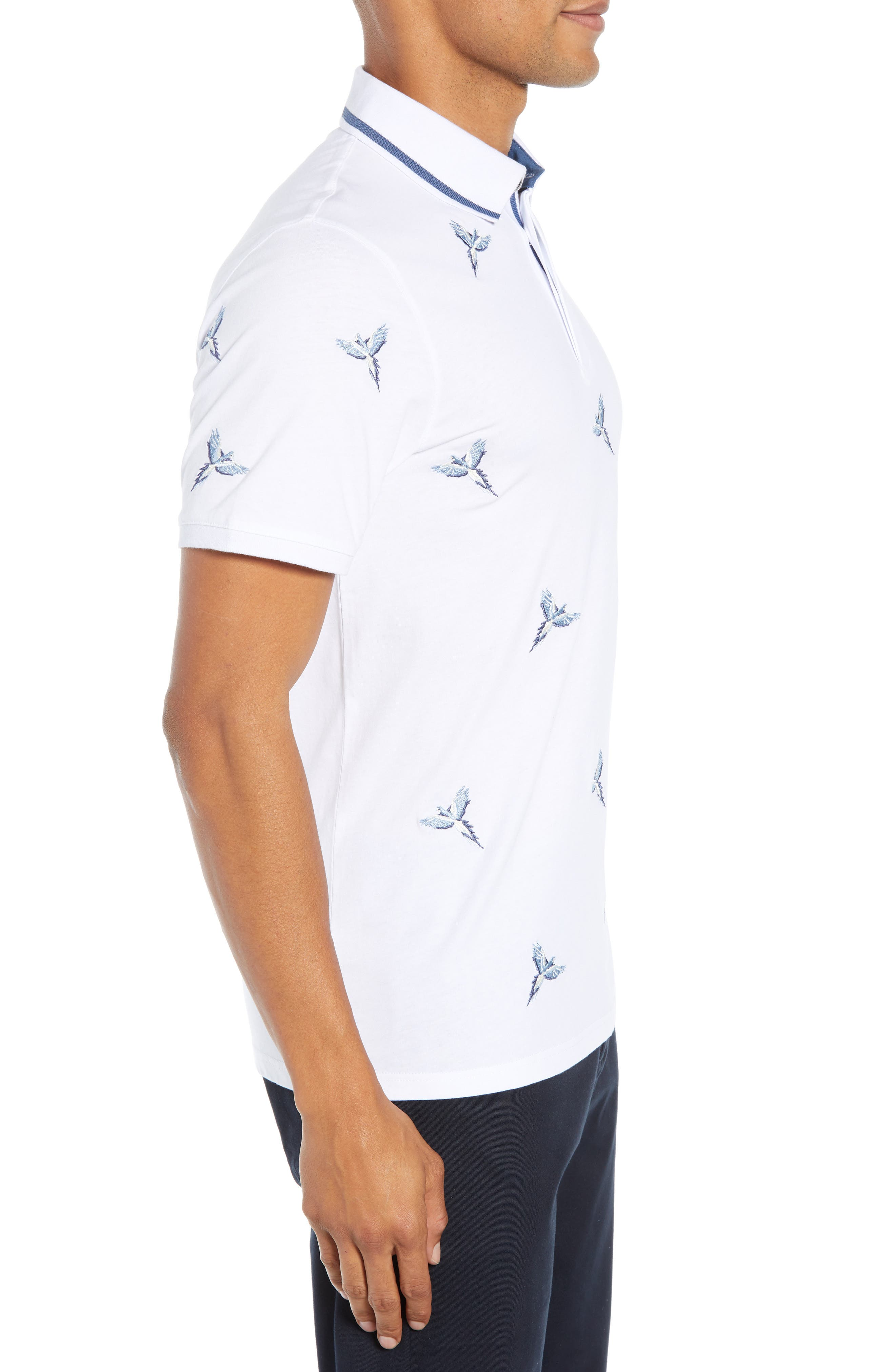 Slim Fit Hapnes Embroidered Bird Polo,                             Alternate thumbnail 3, color,                             WHITE