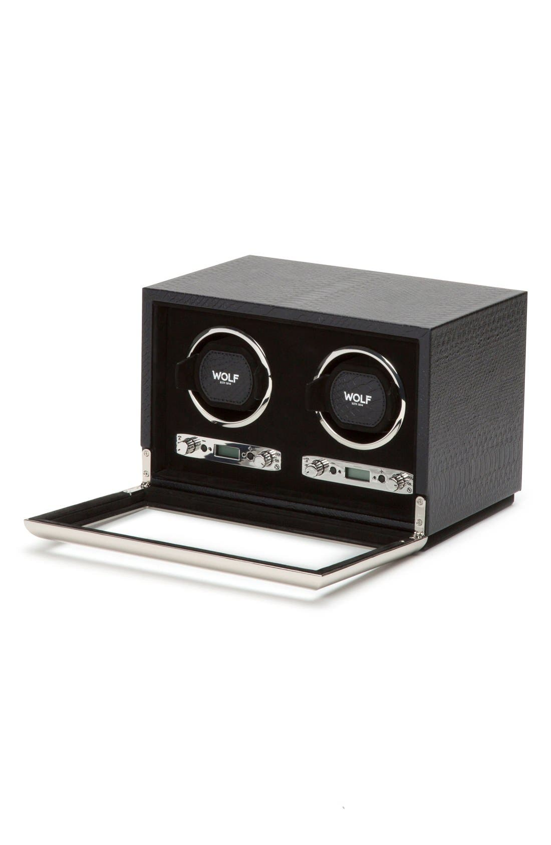 Exotic Double Watch Winder,                             Alternate thumbnail 3, color,                             BLACK