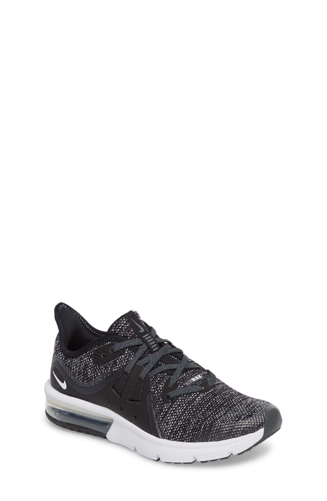 Air Max Sequent 3 GS Running Shoe,                             Main thumbnail 1, color,                             BLACK/ WHITE/ DARK GREY
