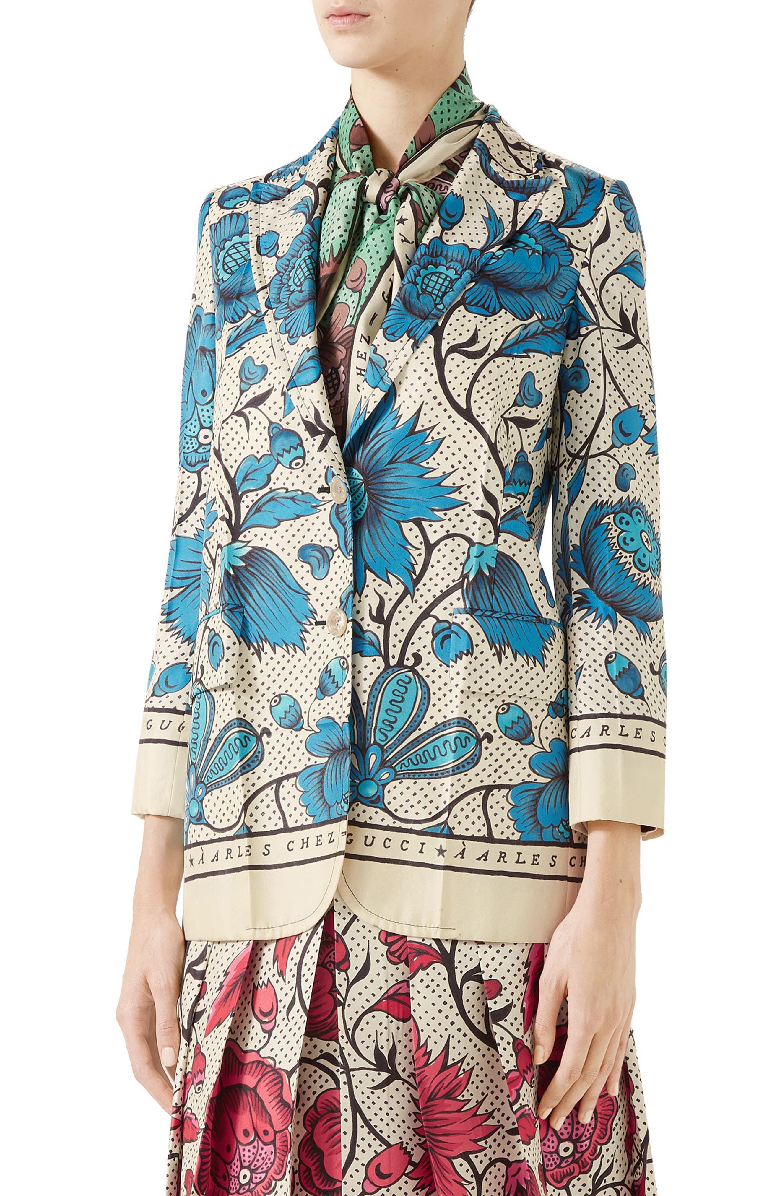Watercolor Floral Print Silk Jacket,                             Main thumbnail 1, color,                             4821 BLUE/ IVORY PRT/ MC