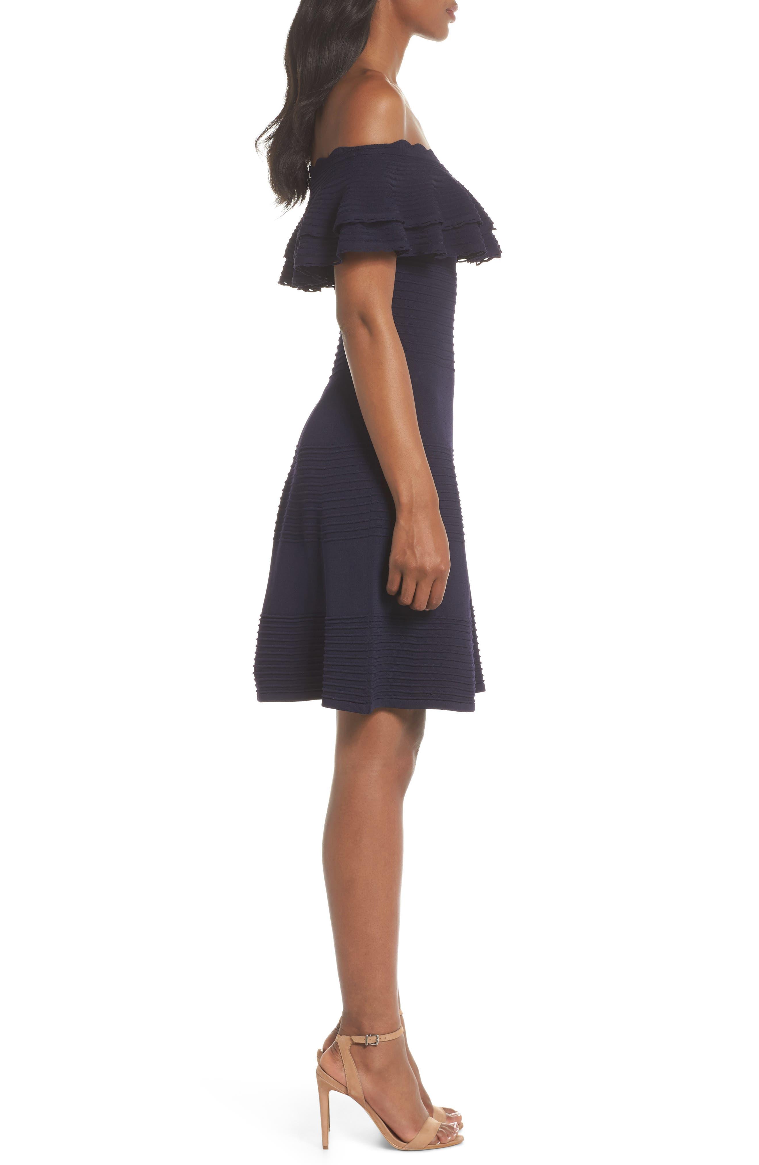 Off the Shoulder Fit & Flare Dress,                             Alternate thumbnail 3, color,                             NAVY