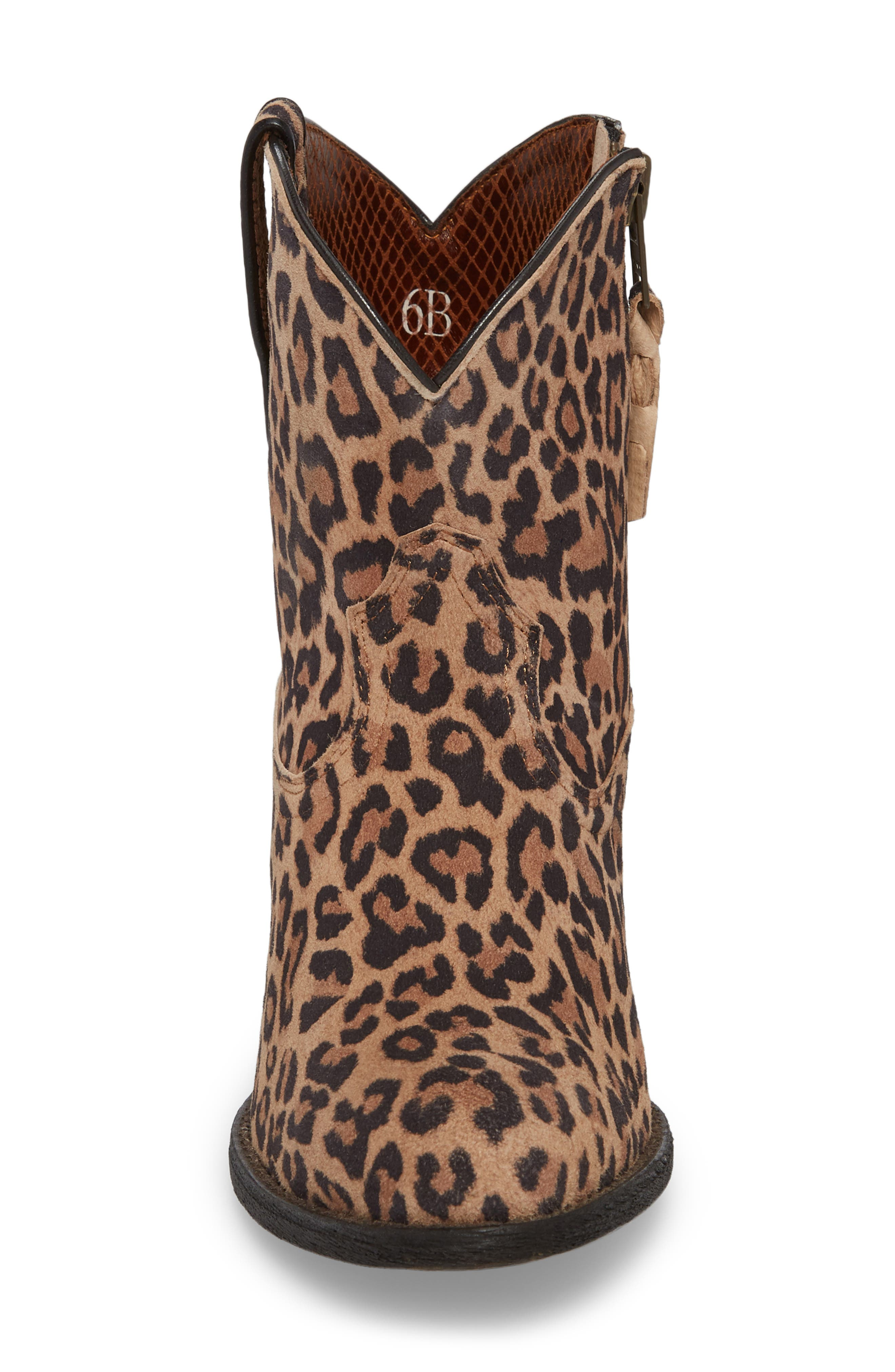 Darlin Short Western Boot,                             Alternate thumbnail 4, color,                             LEOPARD PRINT LEATHER