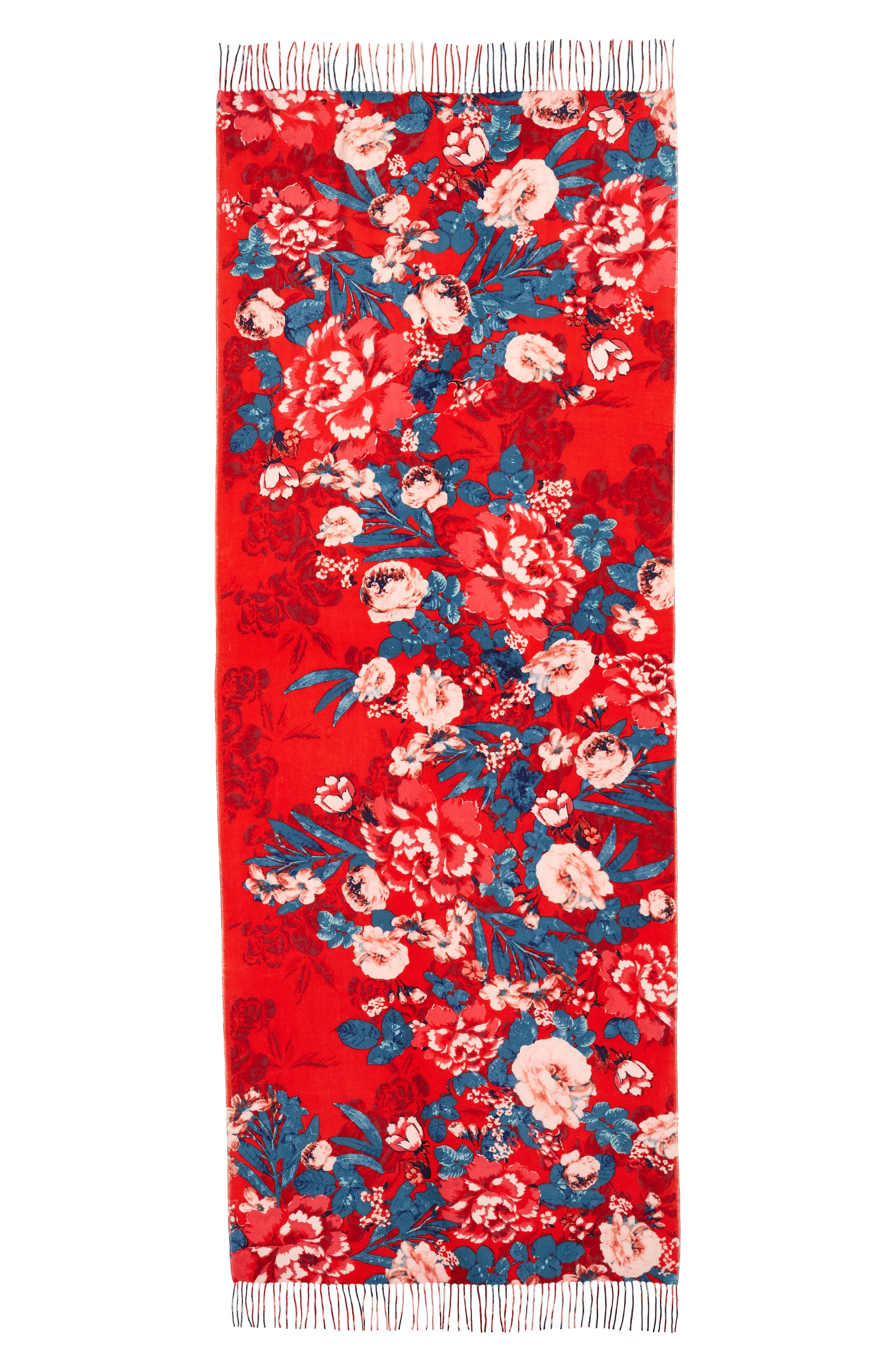 Tissue Print Wool & Cashmere Wrap Scarf,                             Alternate thumbnail 3, color,                             RED ARTFUL BLOOMS