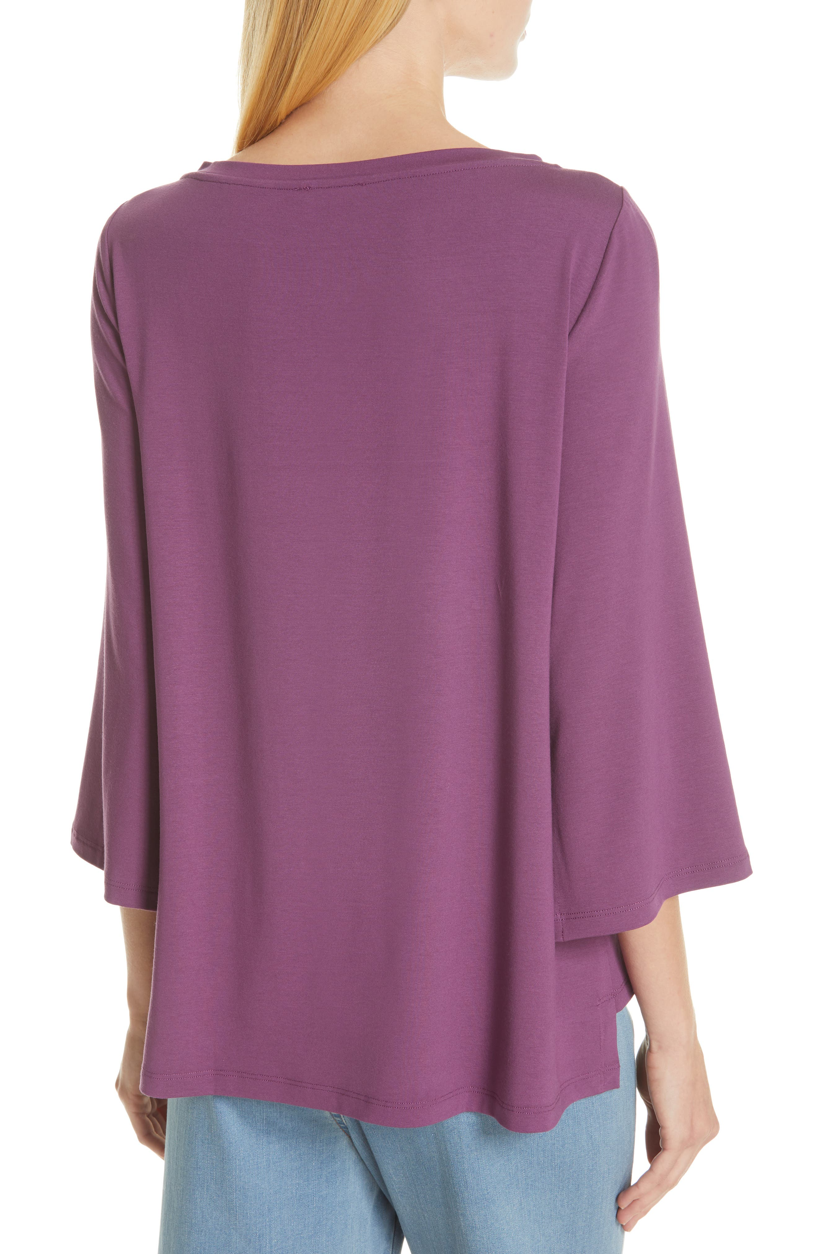 Flare Sleeve Top,                             Alternate thumbnail 2, color,                             CURRANT