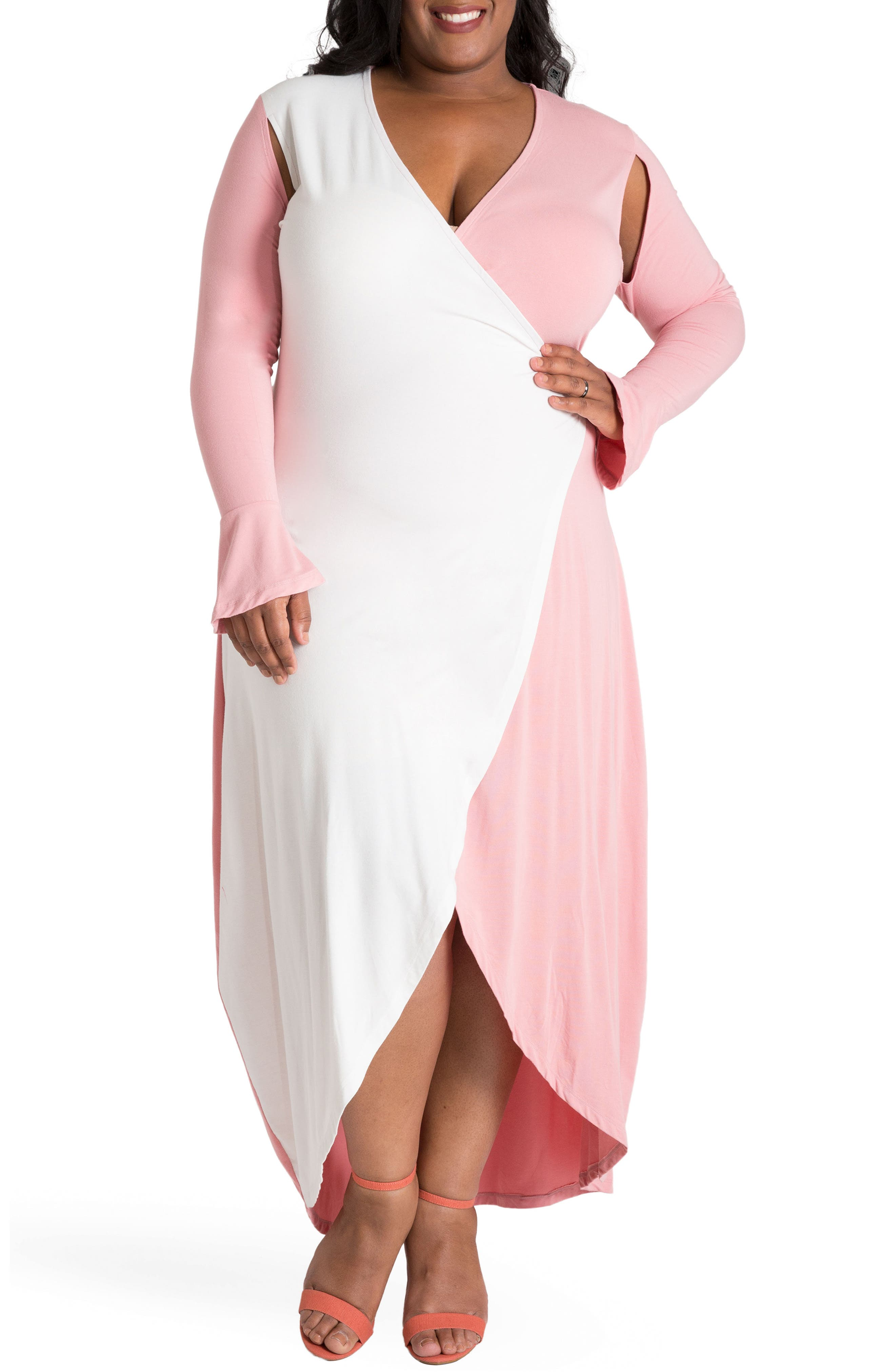 Leticia Wrap Maxi Dress,                             Main thumbnail 1, color,                             WHITE AND PINK