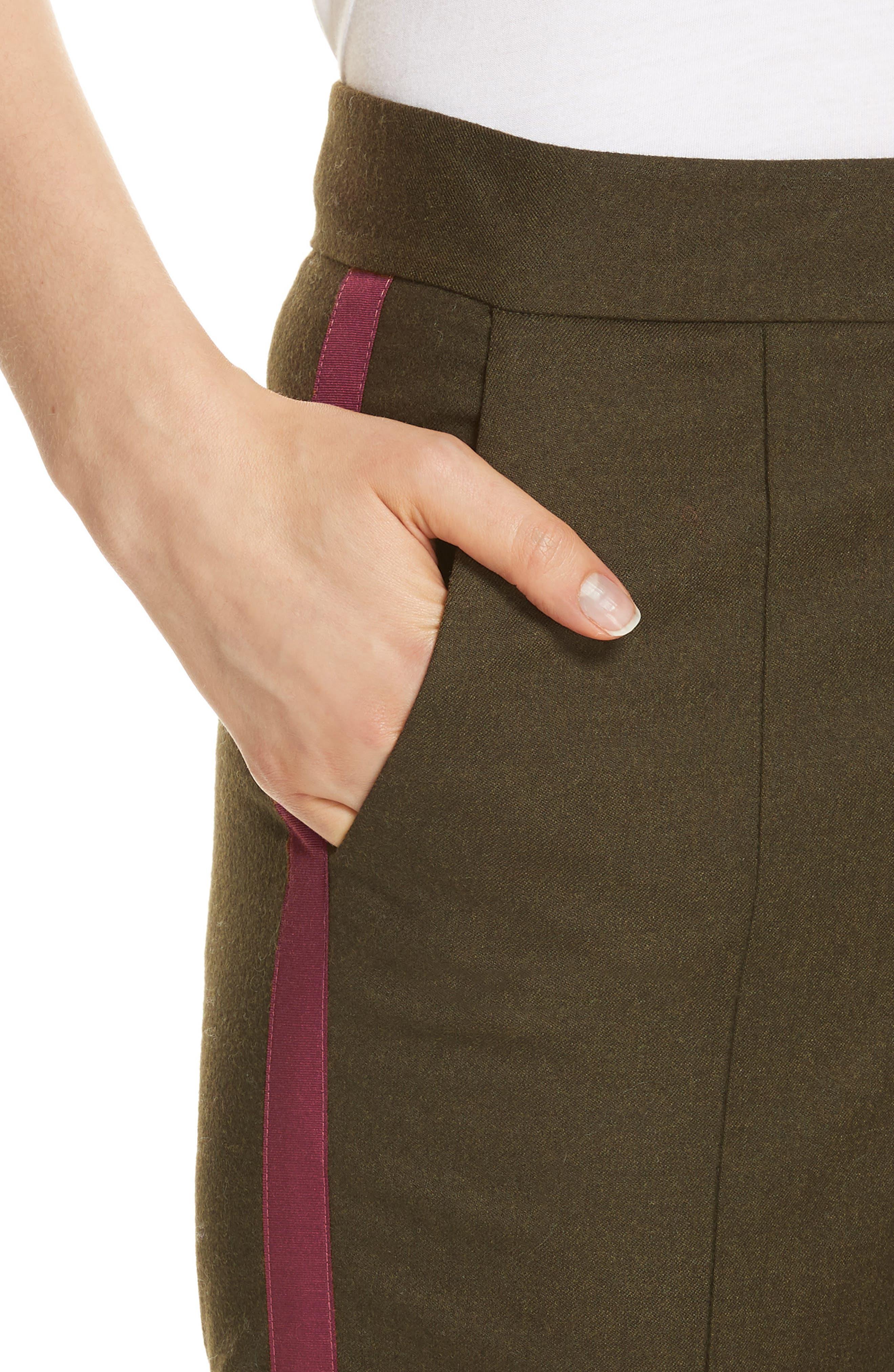 Side Stripe Stretch Flannel Pants,                             Alternate thumbnail 4, color,                             301