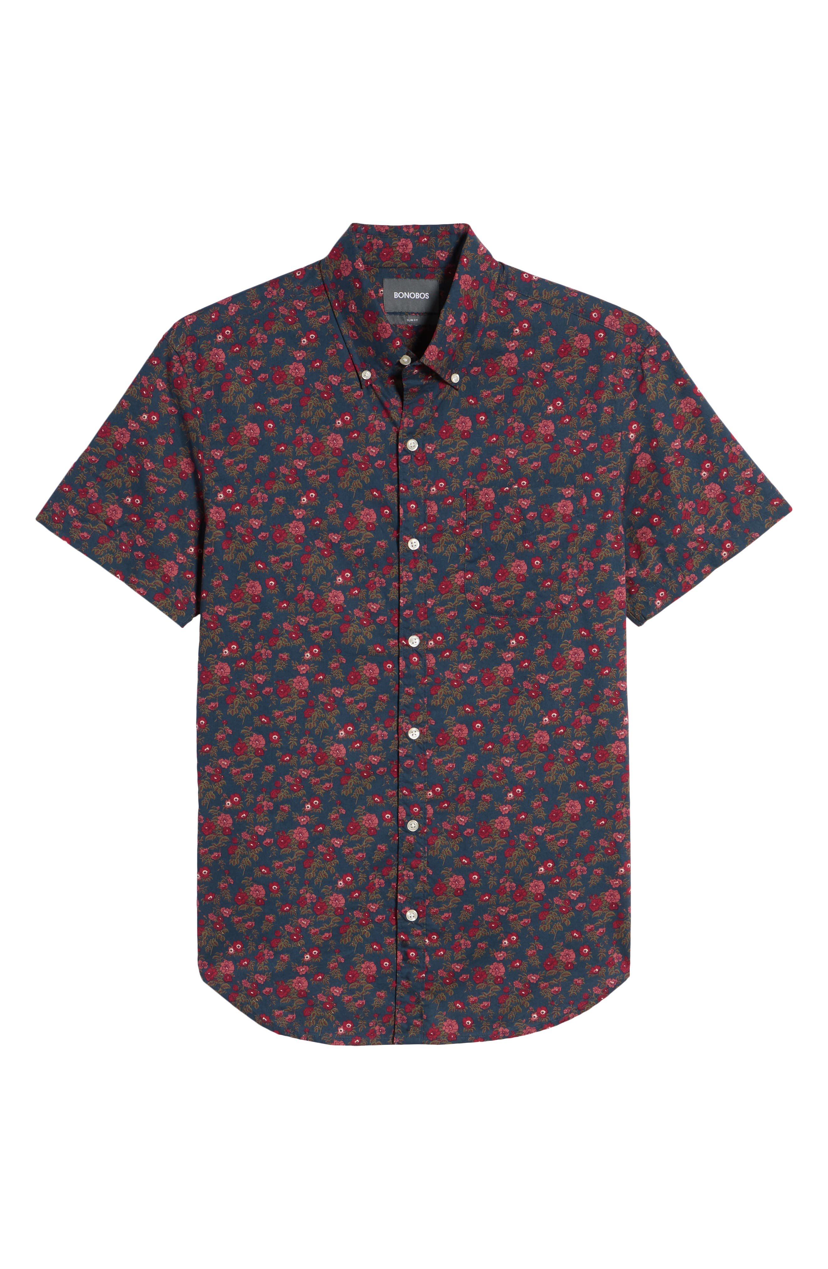 Riviera Slim Fit Floral Print Sport Shirt,                             Alternate thumbnail 6, color,                             400