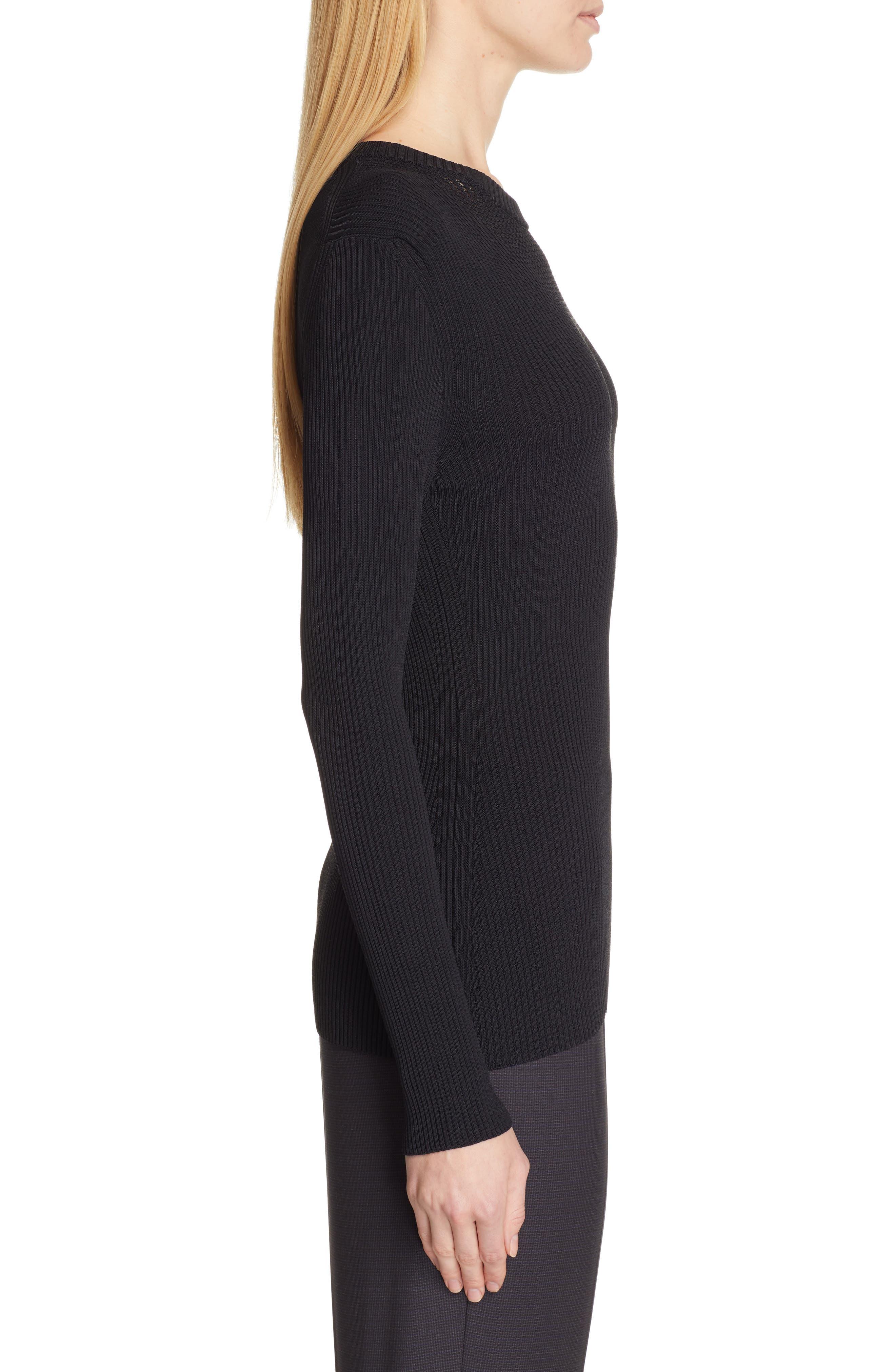 BOSS,                             Febecca Ribbed Sweater,                             Alternate thumbnail 3, color,                             BLACK