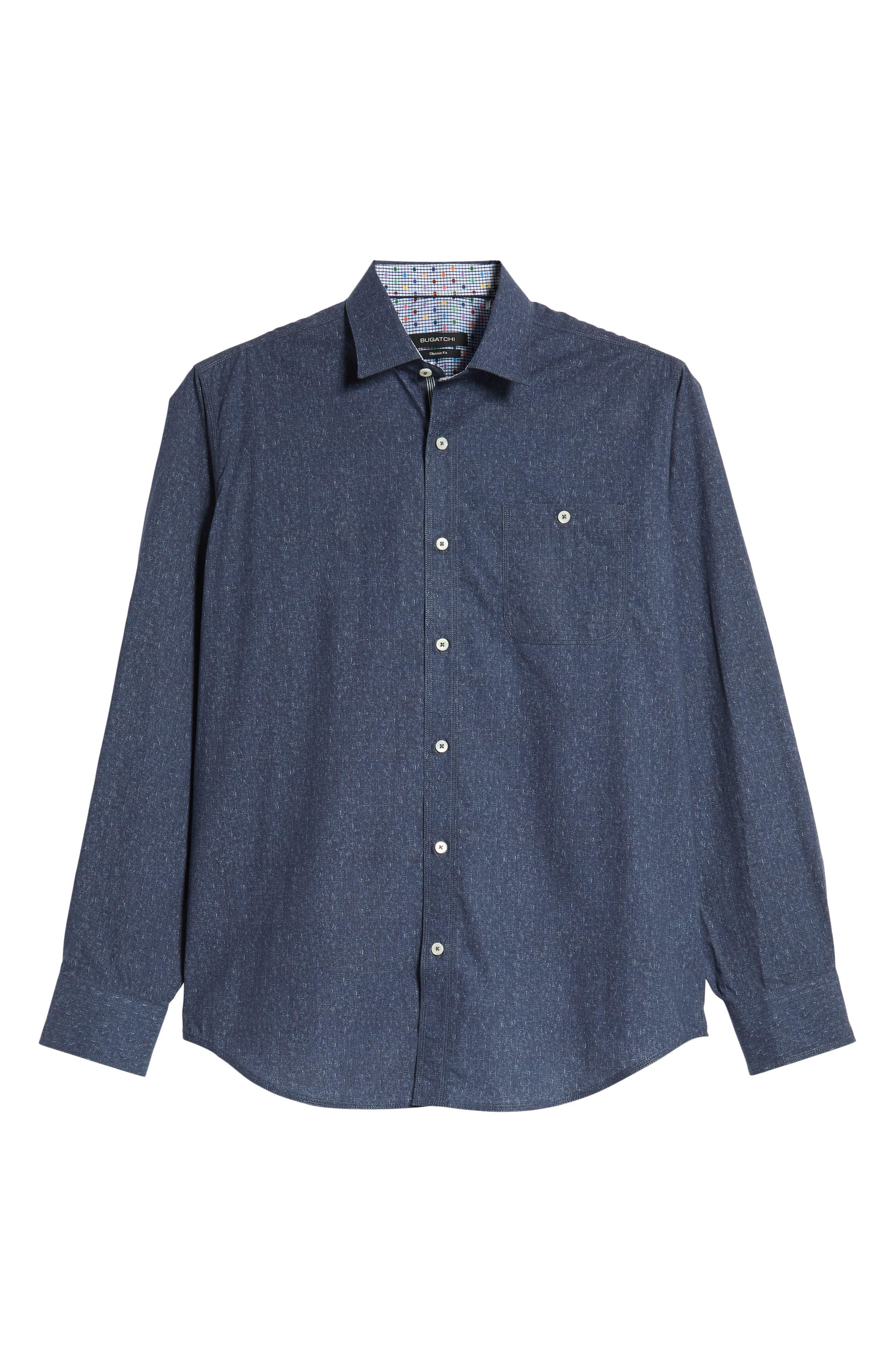 Classic Fit Mélange Sport Shirt,                             Alternate thumbnail 5, color,                             NAVY