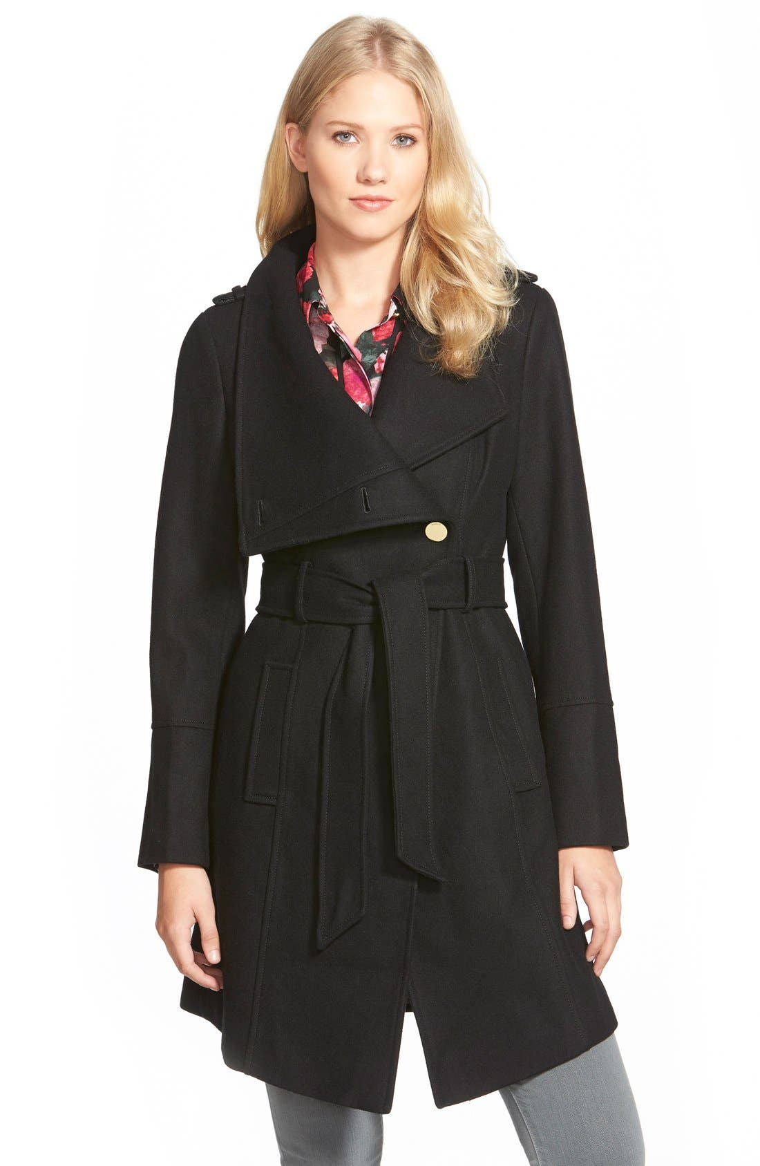 GUESS,                             Belted Asymmetrical Wool Blend Trench Coat,                             Main thumbnail 1, color,                             001