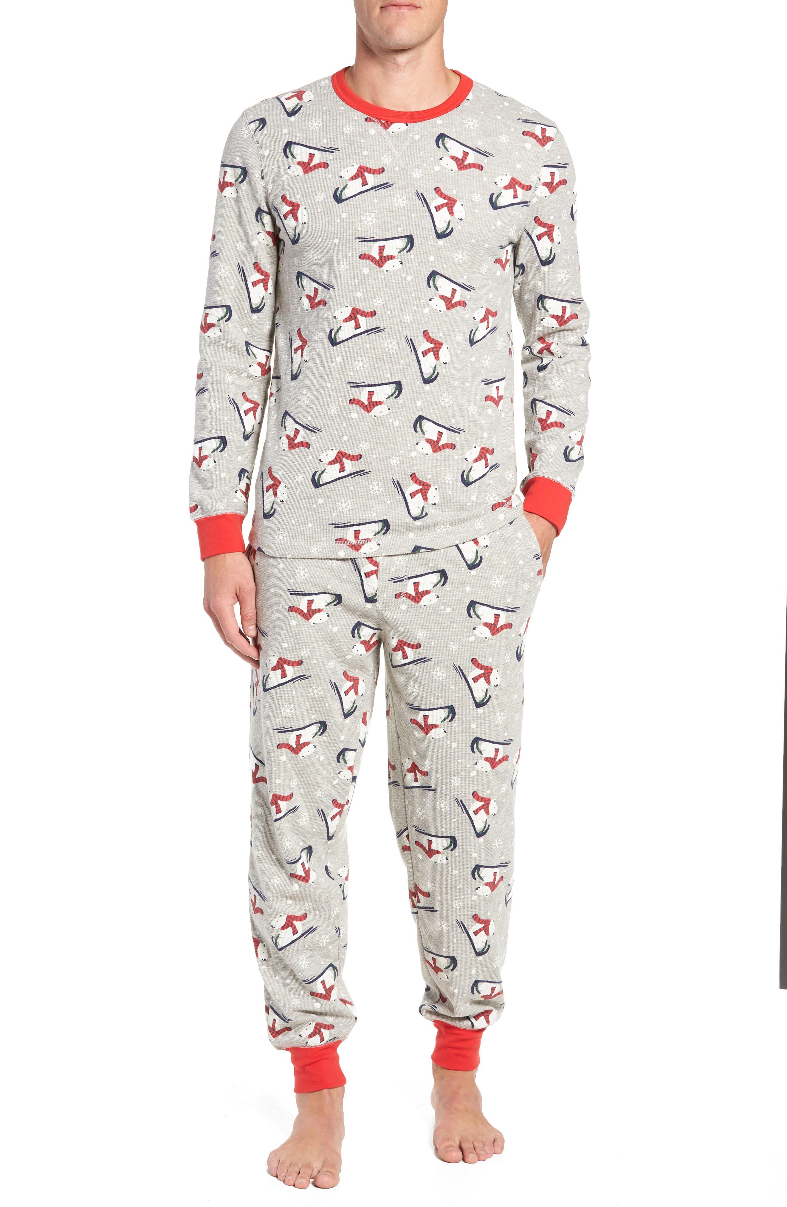 Family Father Thermal Pajamas,                             Main thumbnail 1, color,                             GREY PEARL HEATHER POLAR BEAR