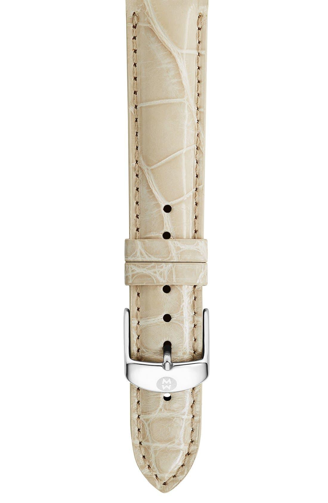 16mm Genuine Alligator Watch Strap,                             Main thumbnail 1, color,                             BONE