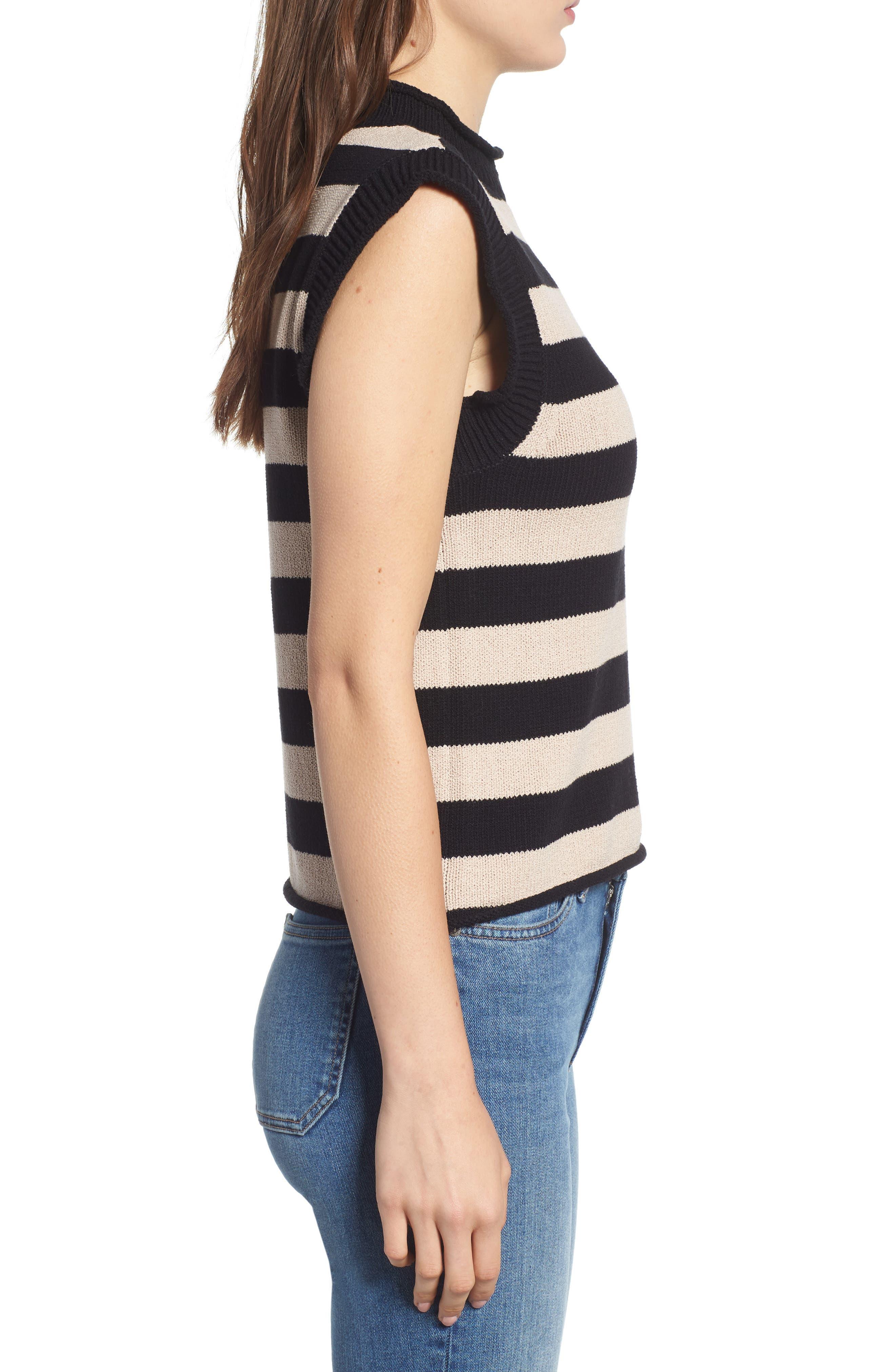 Tenny Stripe Sleeveless Sweater,                             Alternate thumbnail 3, color,                             BLACK CAT / AUTUMN STRIPE