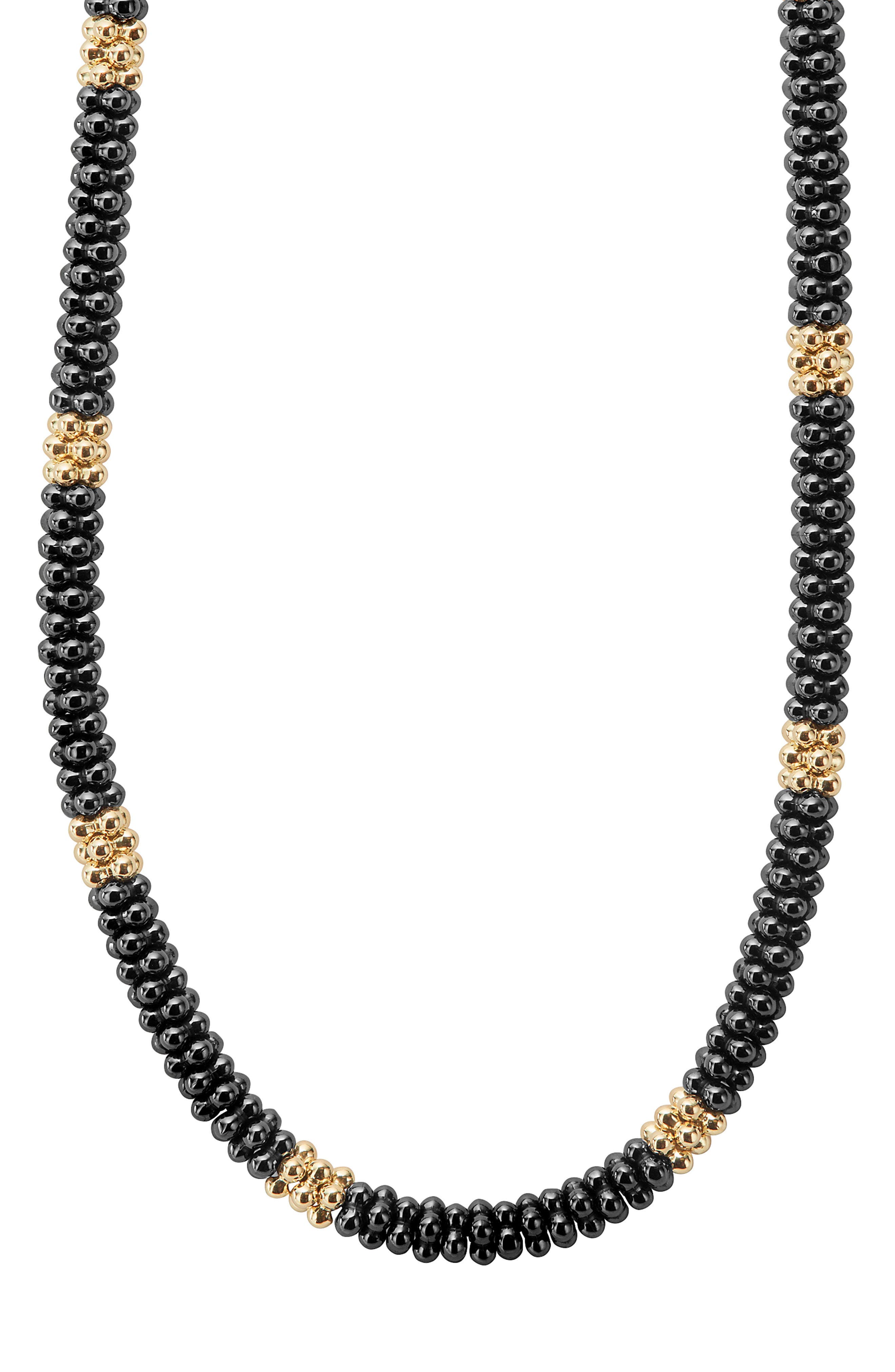 Gold & Black Caviar Rope Necklace,                             Alternate thumbnail 2, color,                             GOLD