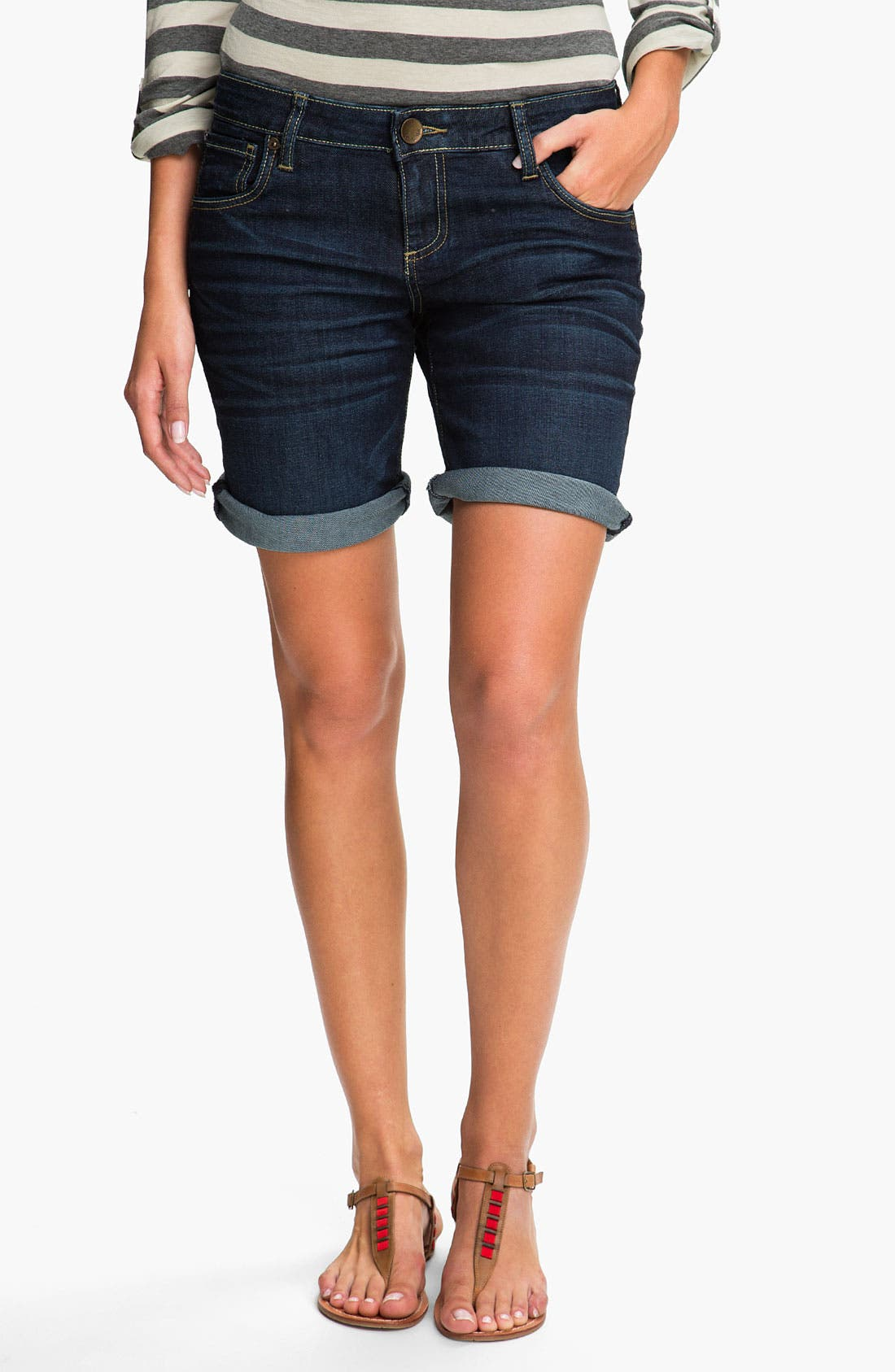 Boyfriend Denim Shorts,                         Main,                         color, 400