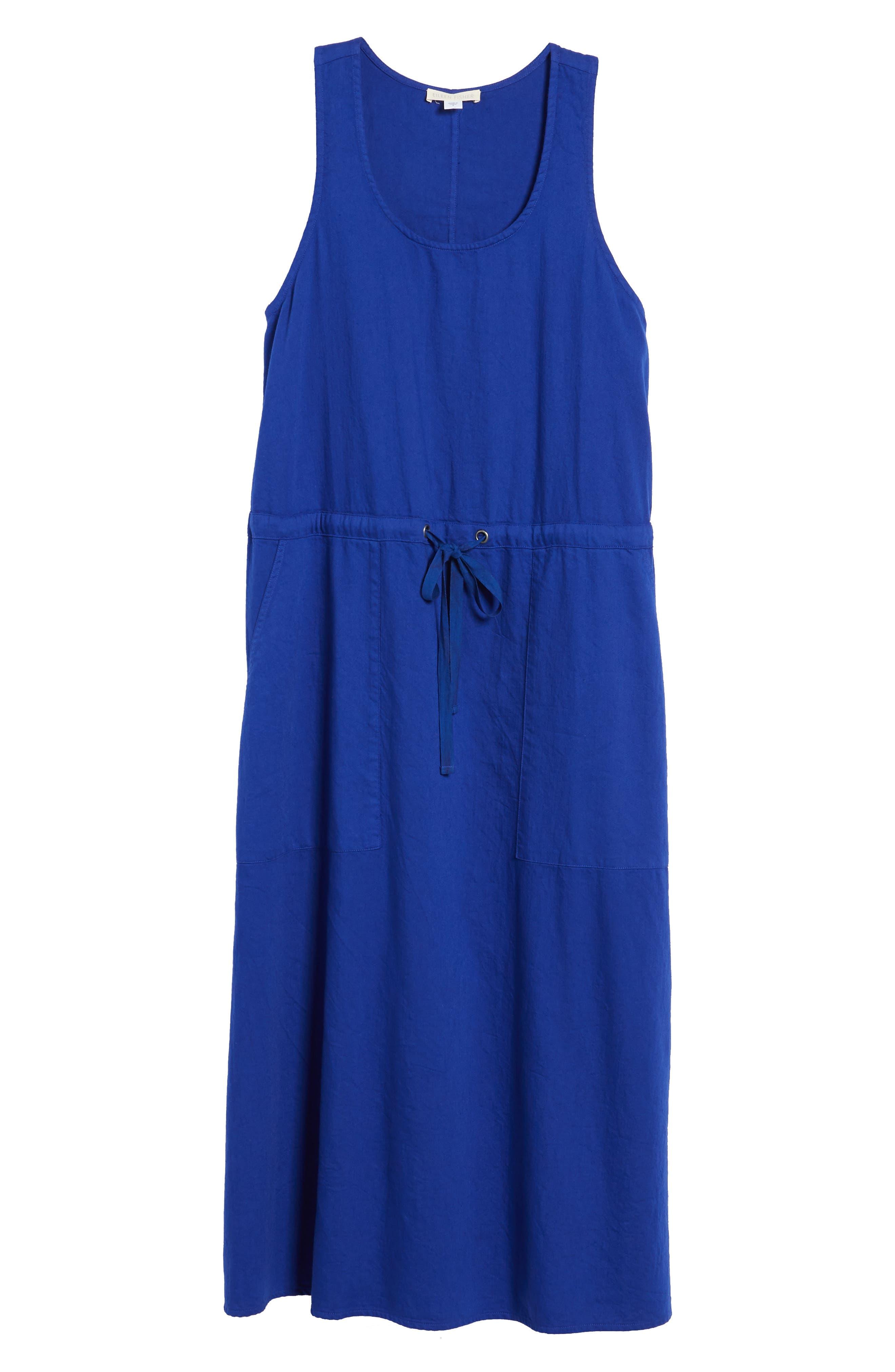 Drawstring Organic Cotton Midi Dress,                             Alternate thumbnail 25, color,