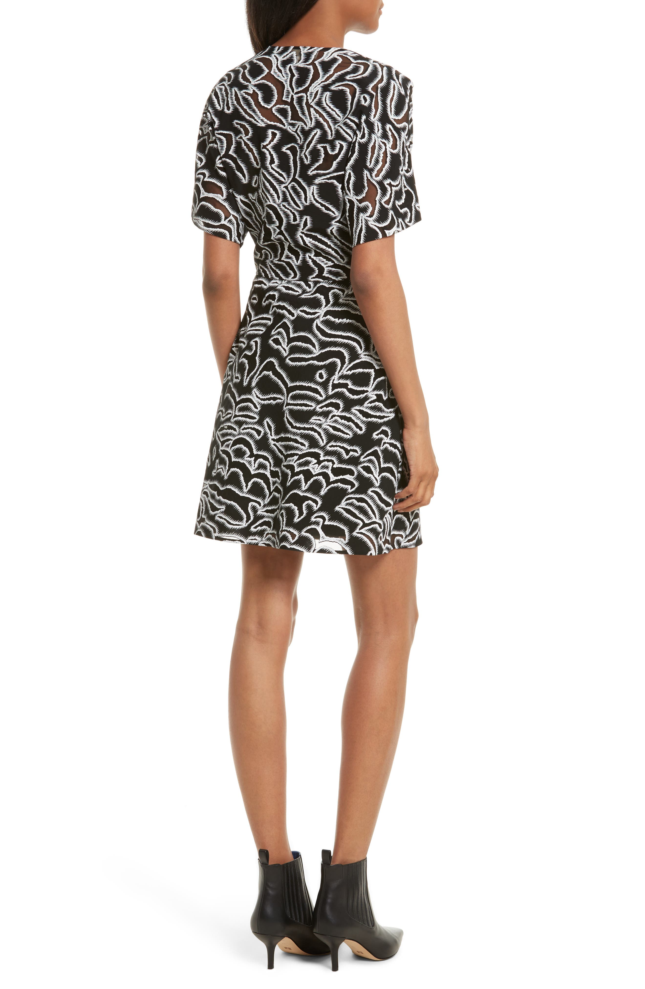 Burnout Print A-Line Wrap Dress,                             Alternate thumbnail 2, color,                             001