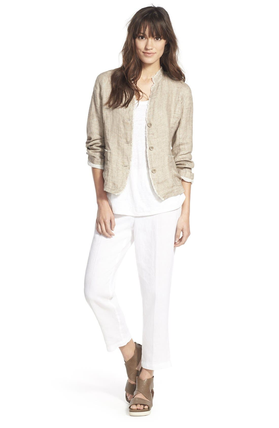 Organic Linen Crop Pants,                             Alternate thumbnail 6, color,                             100