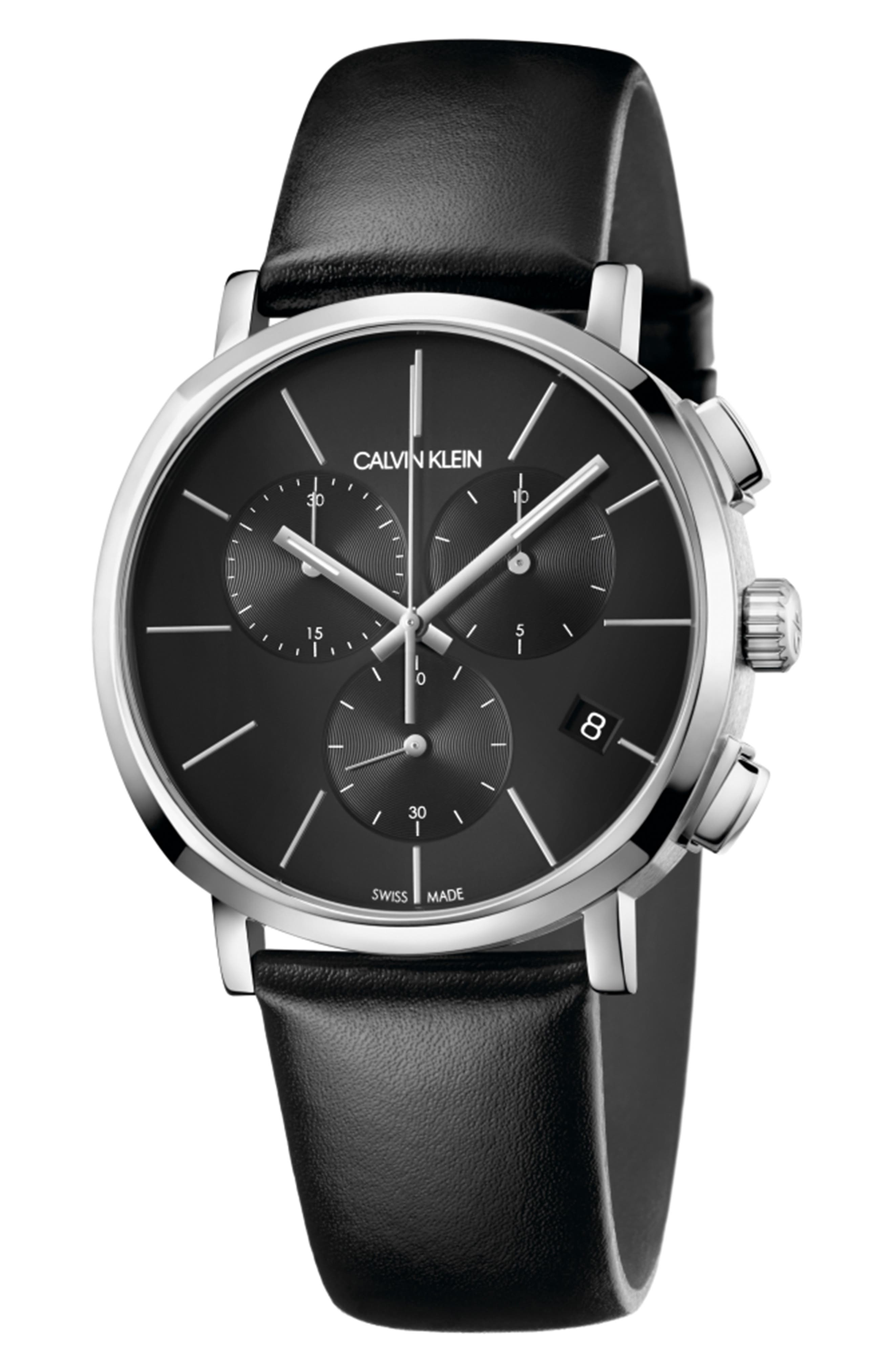 Posh Chronograph Leather Band Watch, 42mm,                         Main,                         color, BLACK/ SILVER/ BLACK
