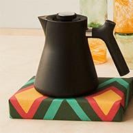 A black kettle.