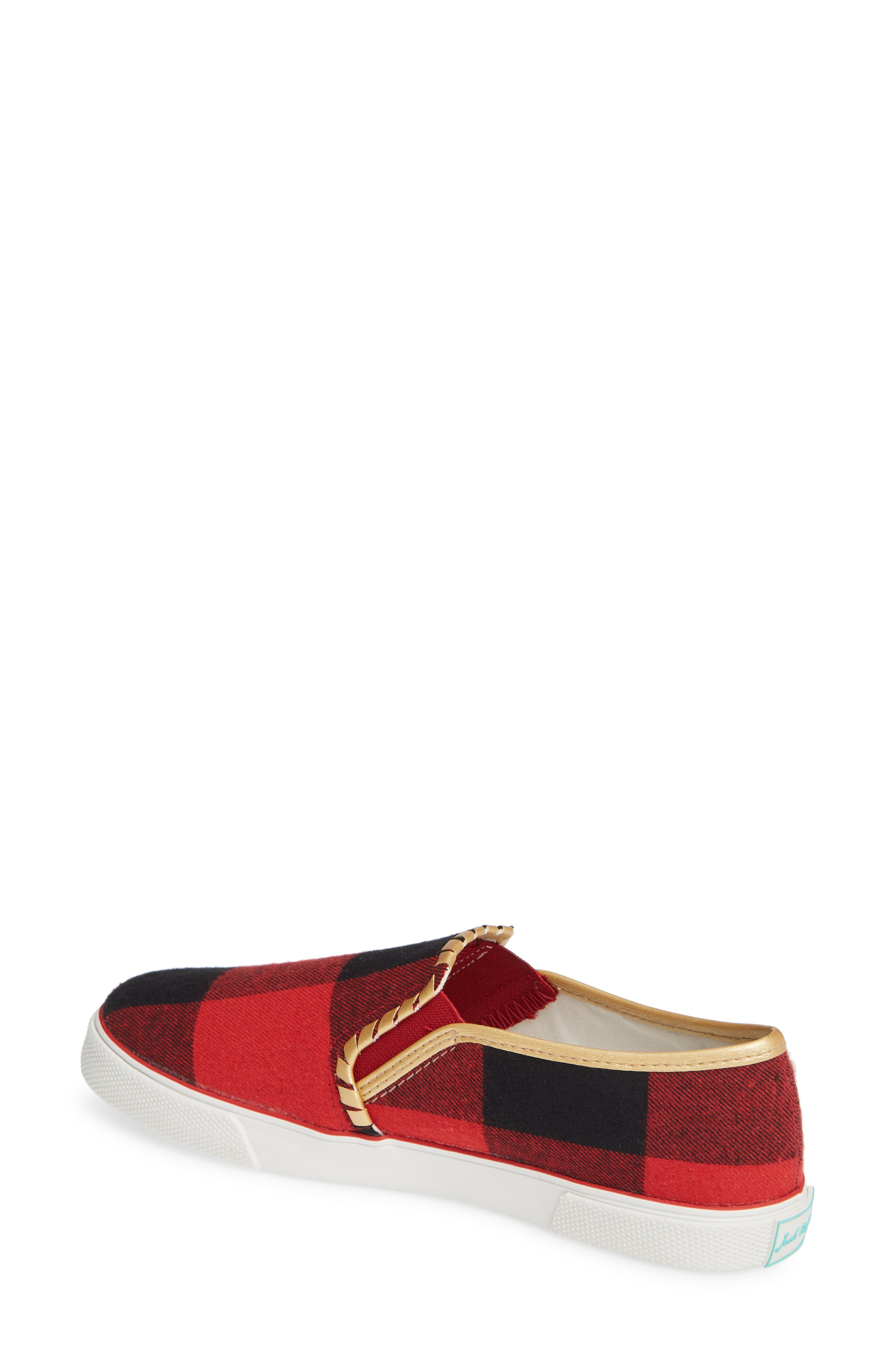 Brynne Slip-On Sneaker,                             Alternate thumbnail 2, color,                             RED/ BLACK FABRIC