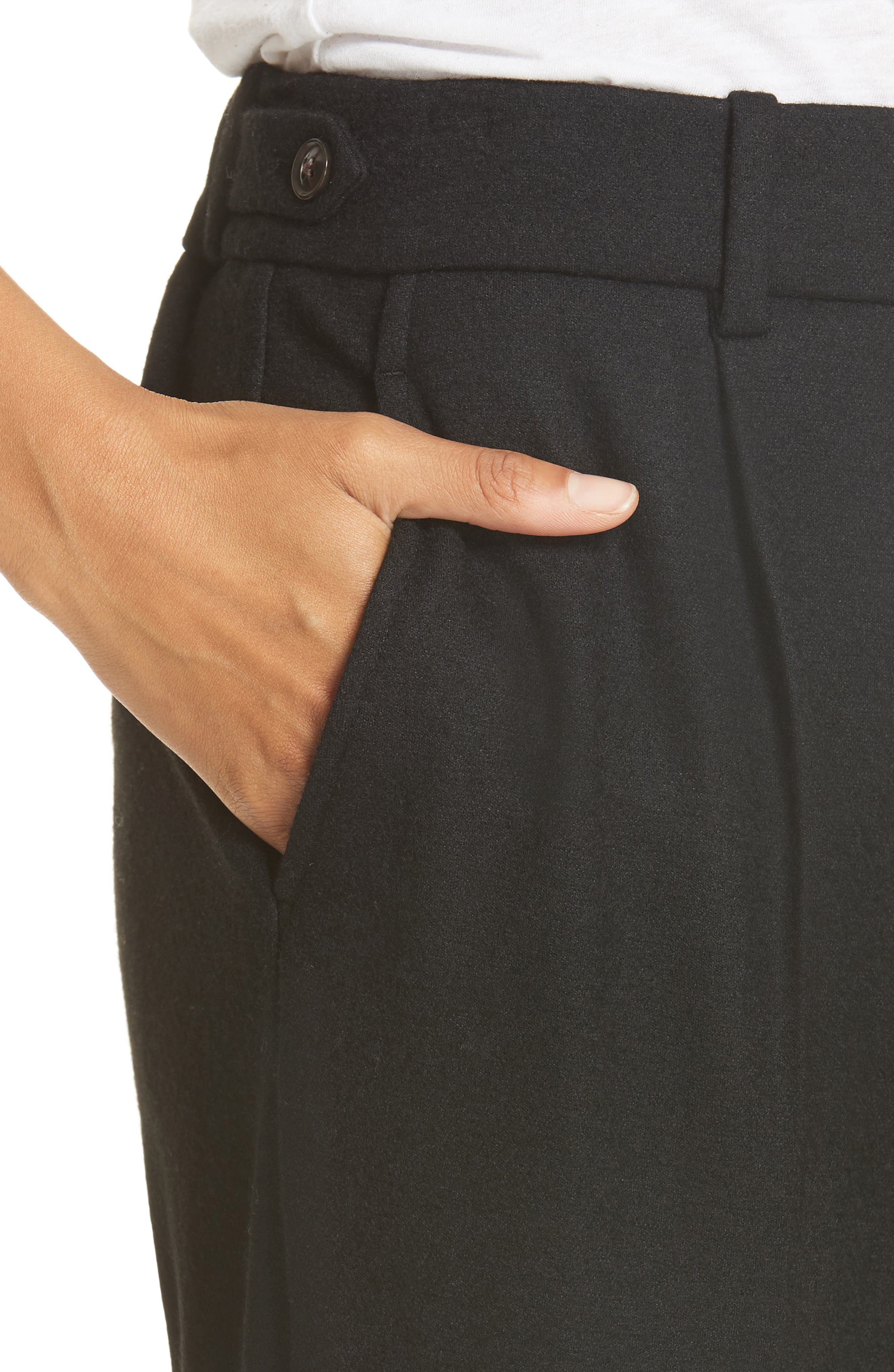 Cropped Pull-On Pants,                             Alternate thumbnail 4, color,                             BLACK