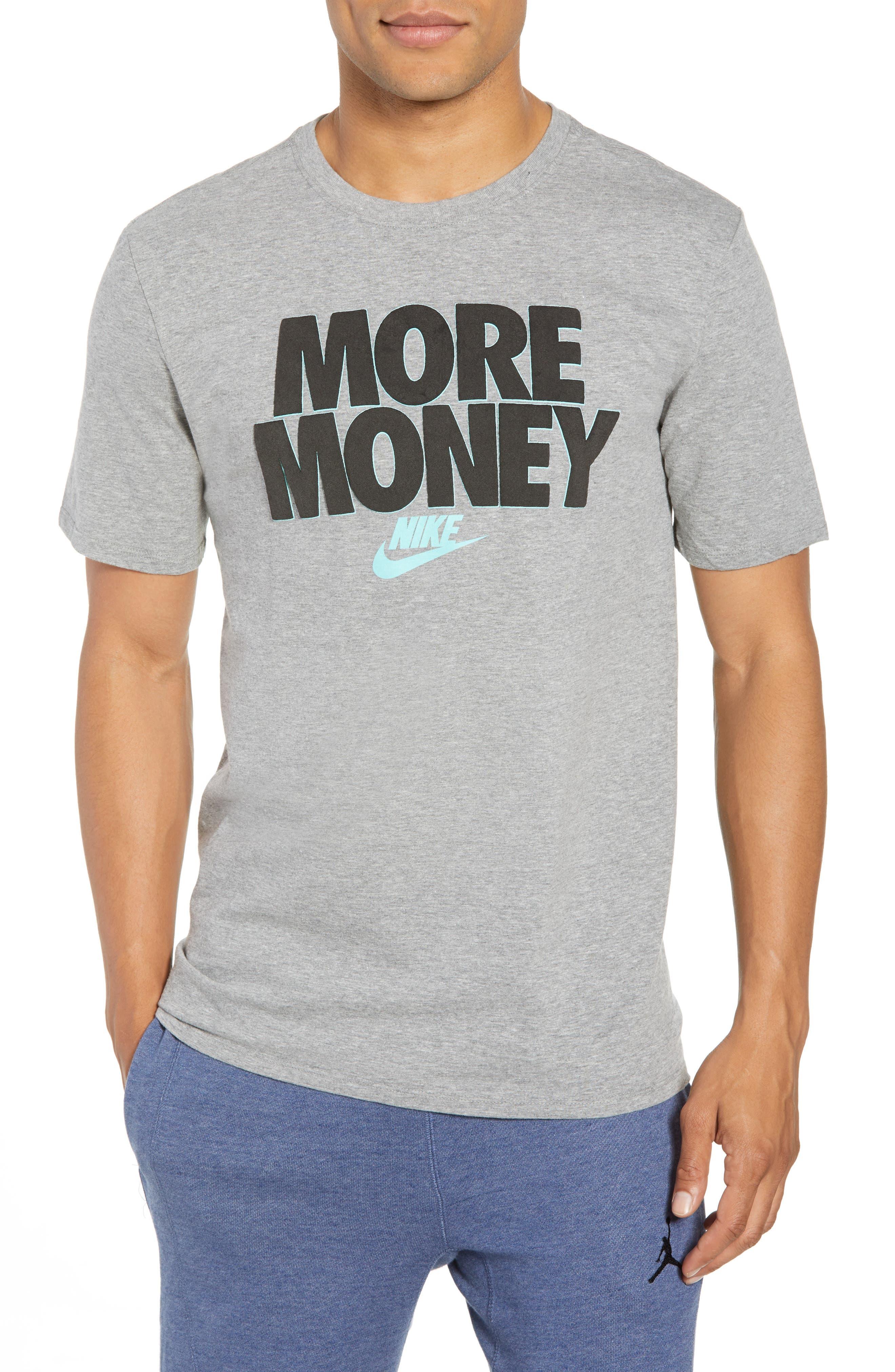 Sportswear More Money T-Shirt,                         Main,                         color, DK GREY HEATHER/ BLACK