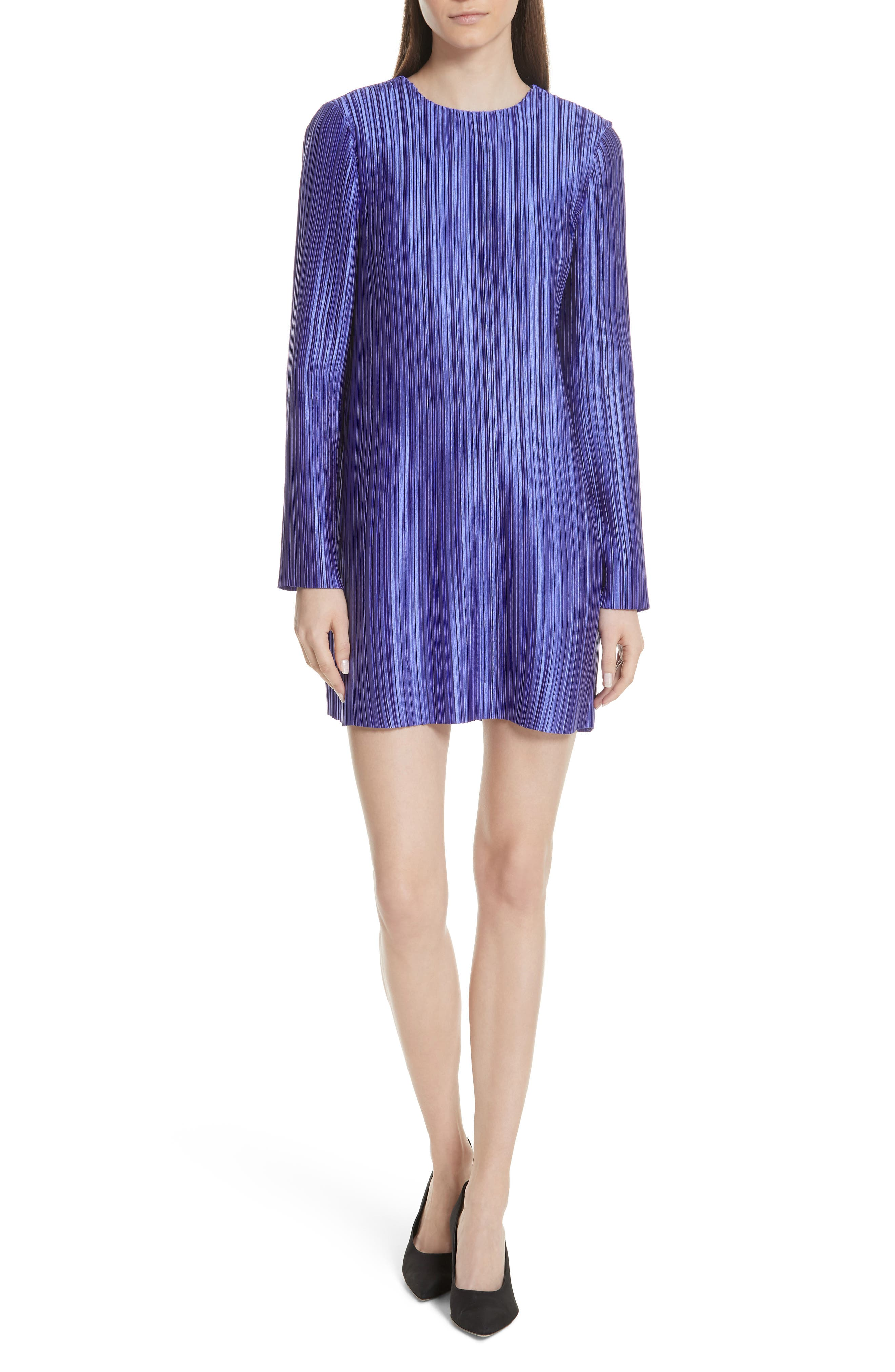 Long-Sleeve Jewel-Neck Plisse Mini Cocktail Dress in Purple