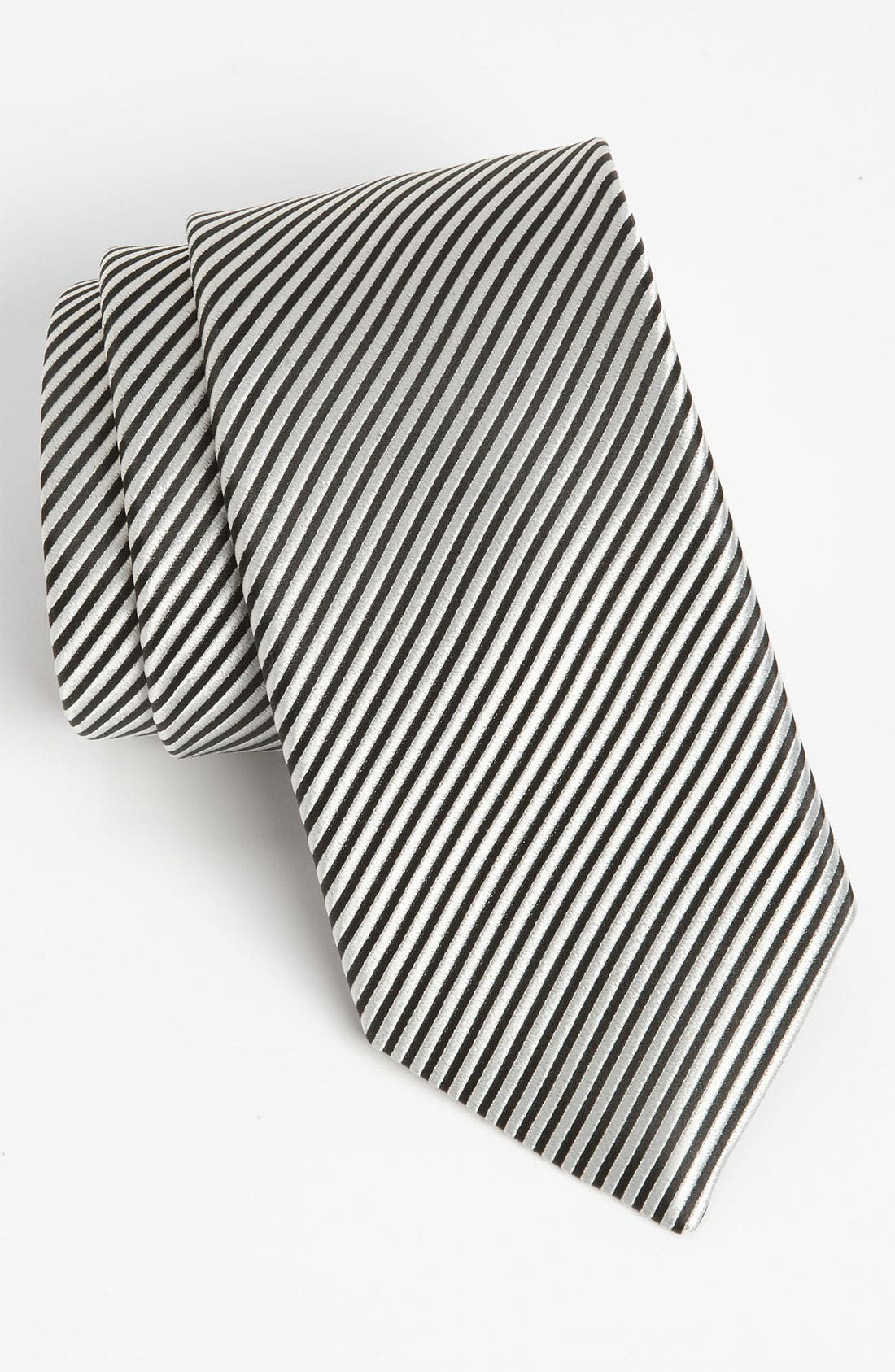 Woven Silk Tie,                             Main thumbnail 1, color,                             BLACK/ WHITE