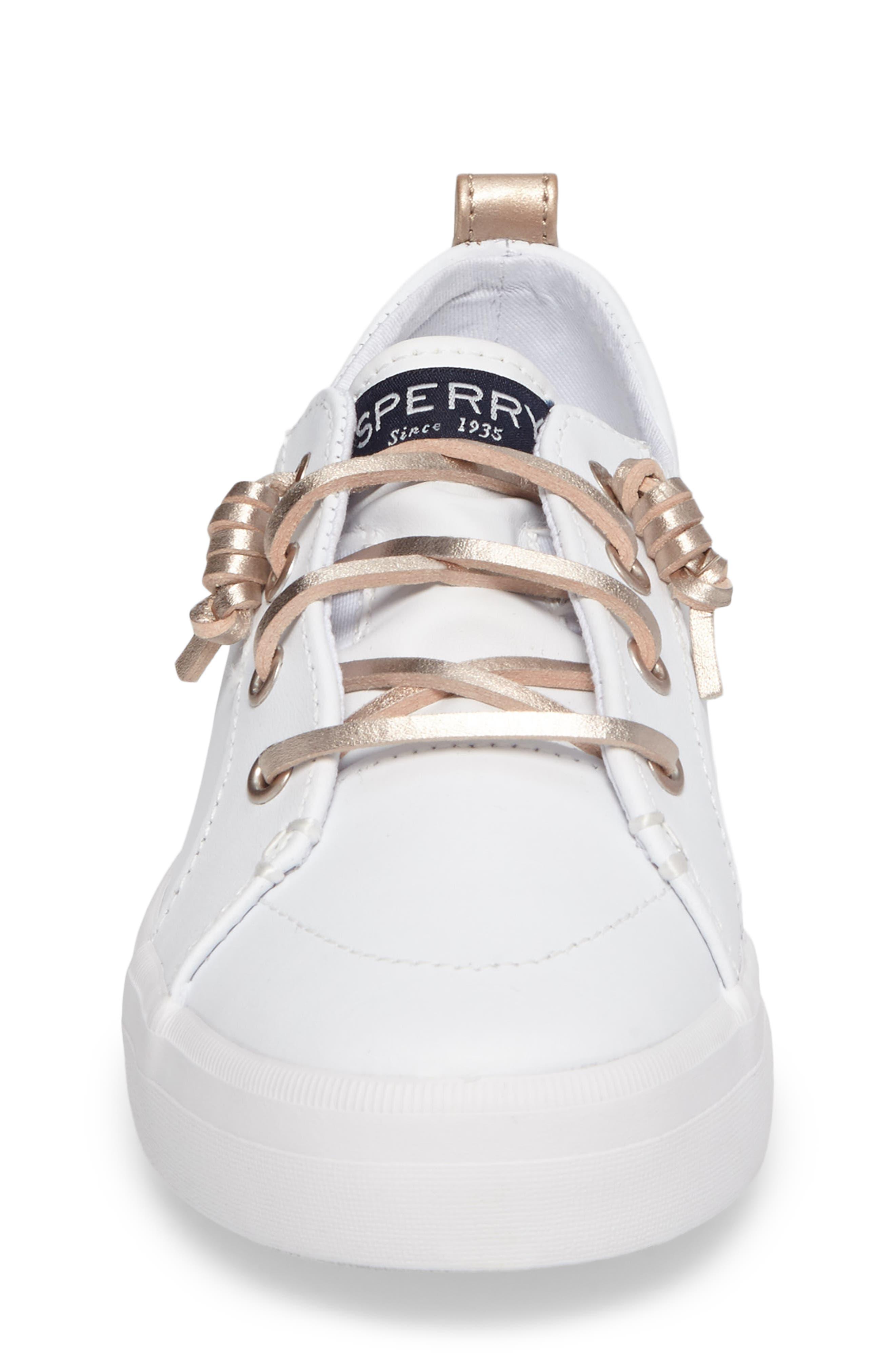 Sperry Crest Vibe Sneaker,                             Alternate thumbnail 4, color,                             WHITE LEATHER
