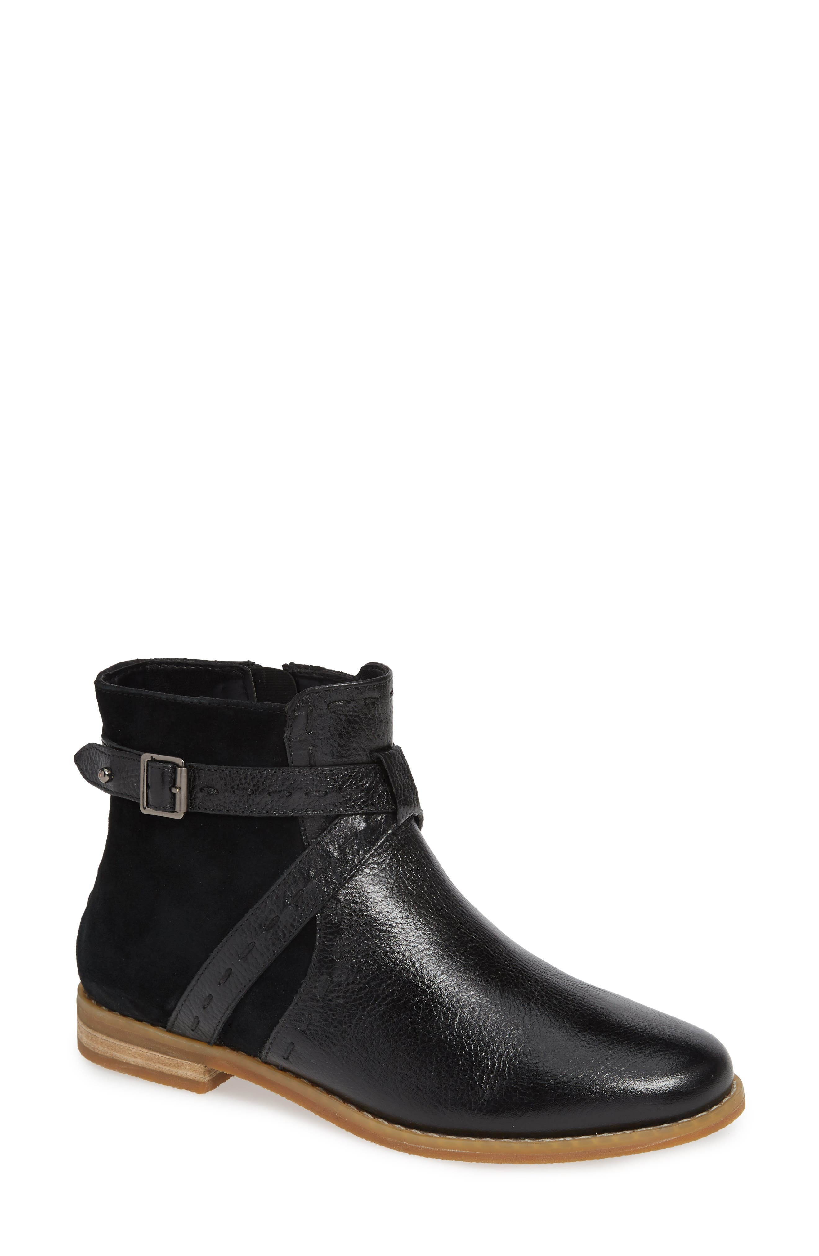 HUSH PUPPIES<SUP>®</SUP> Chardon Belt Water Resistant Bootie, Main, color, BLACK LEATHER