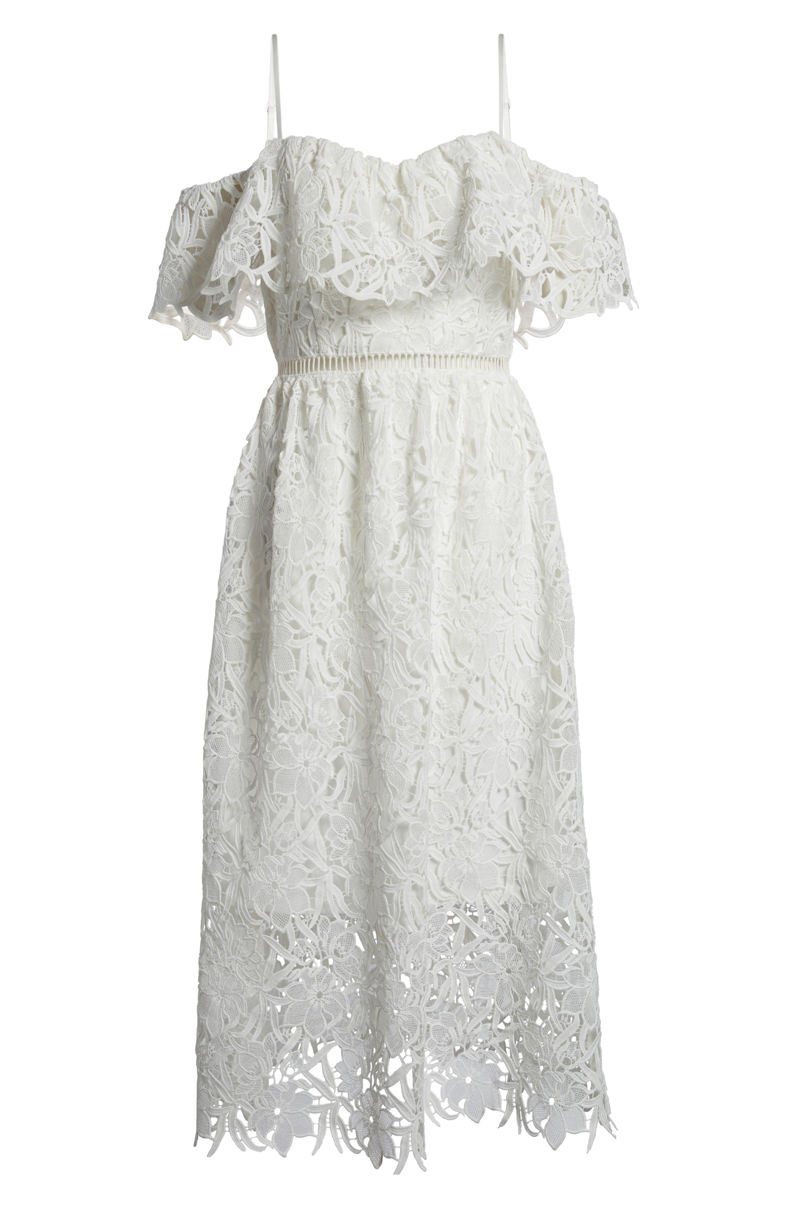 Lace Off the Shoulder Midi Dress,                             Alternate thumbnail 7, color,                             100