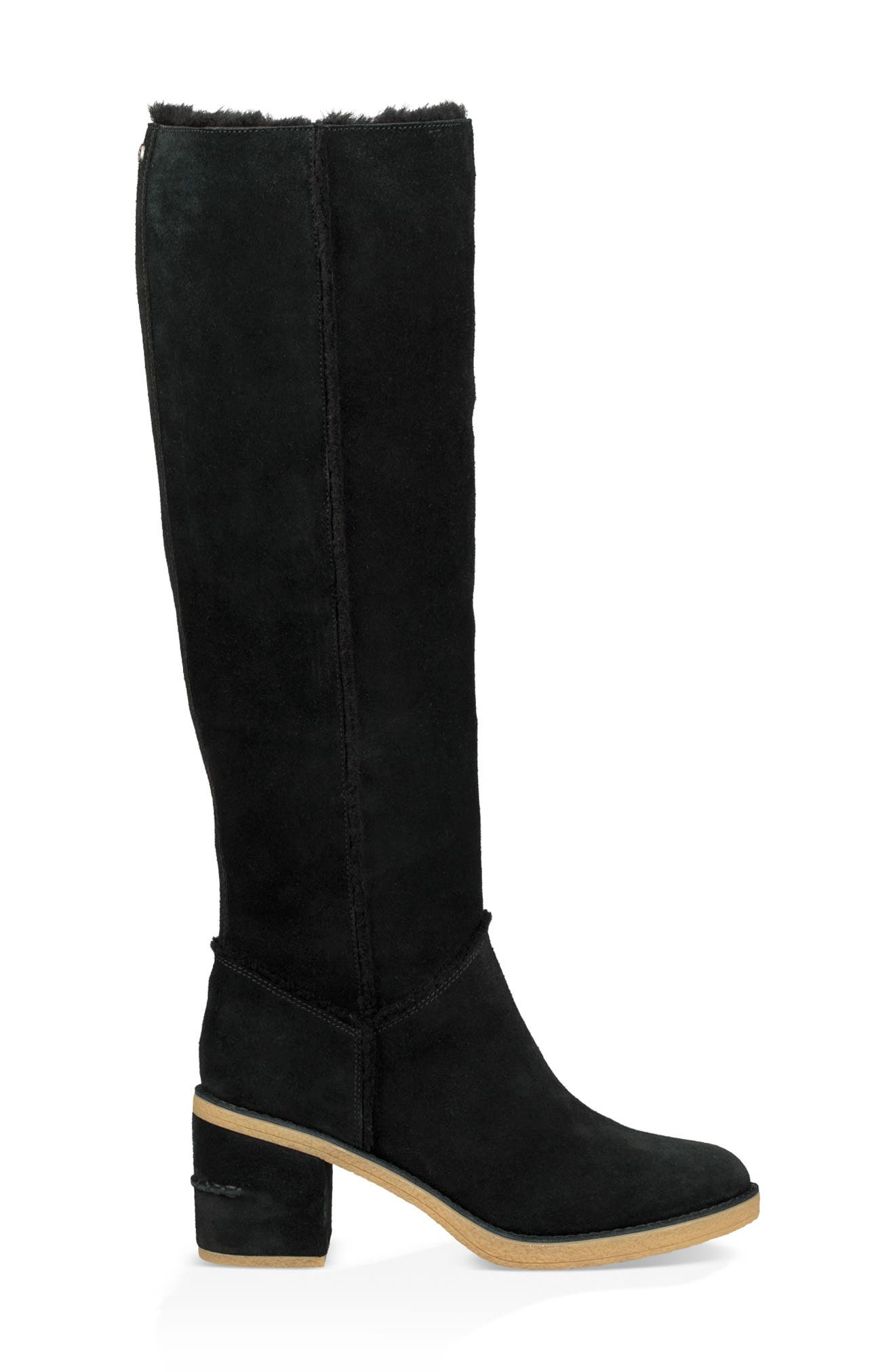 Kasen II Knee High Boot,                             Alternate thumbnail 3, color,                             BLACK SUEDE