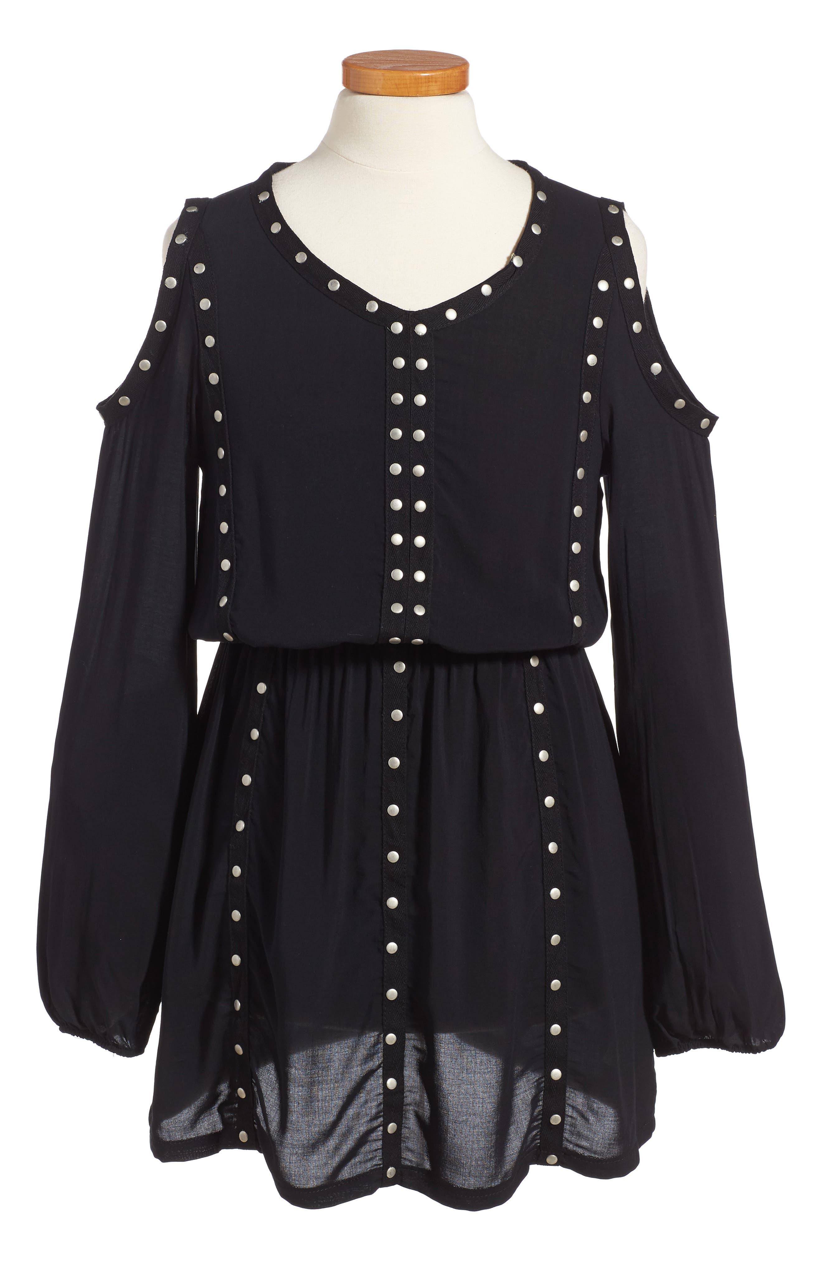 Grommet Cold Shoulder Dress,                             Main thumbnail 1, color,                             001