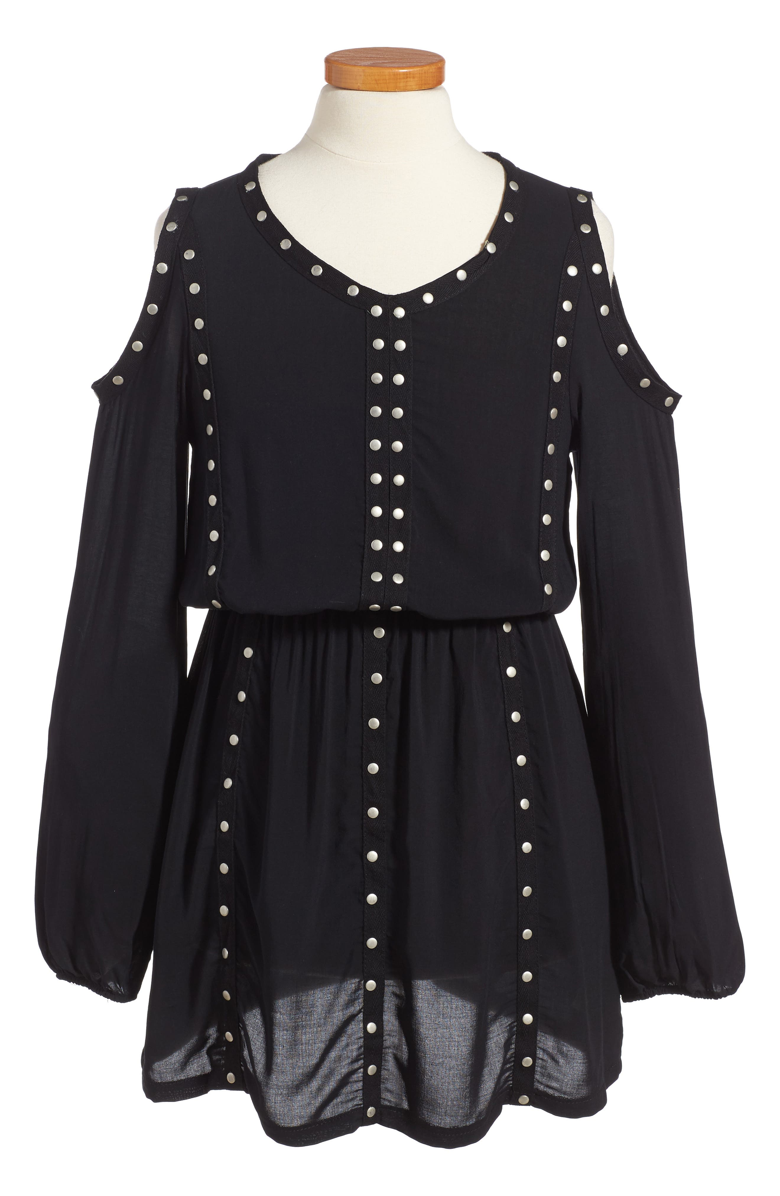 Grommet Cold Shoulder Dress,                         Main,                         color, 001