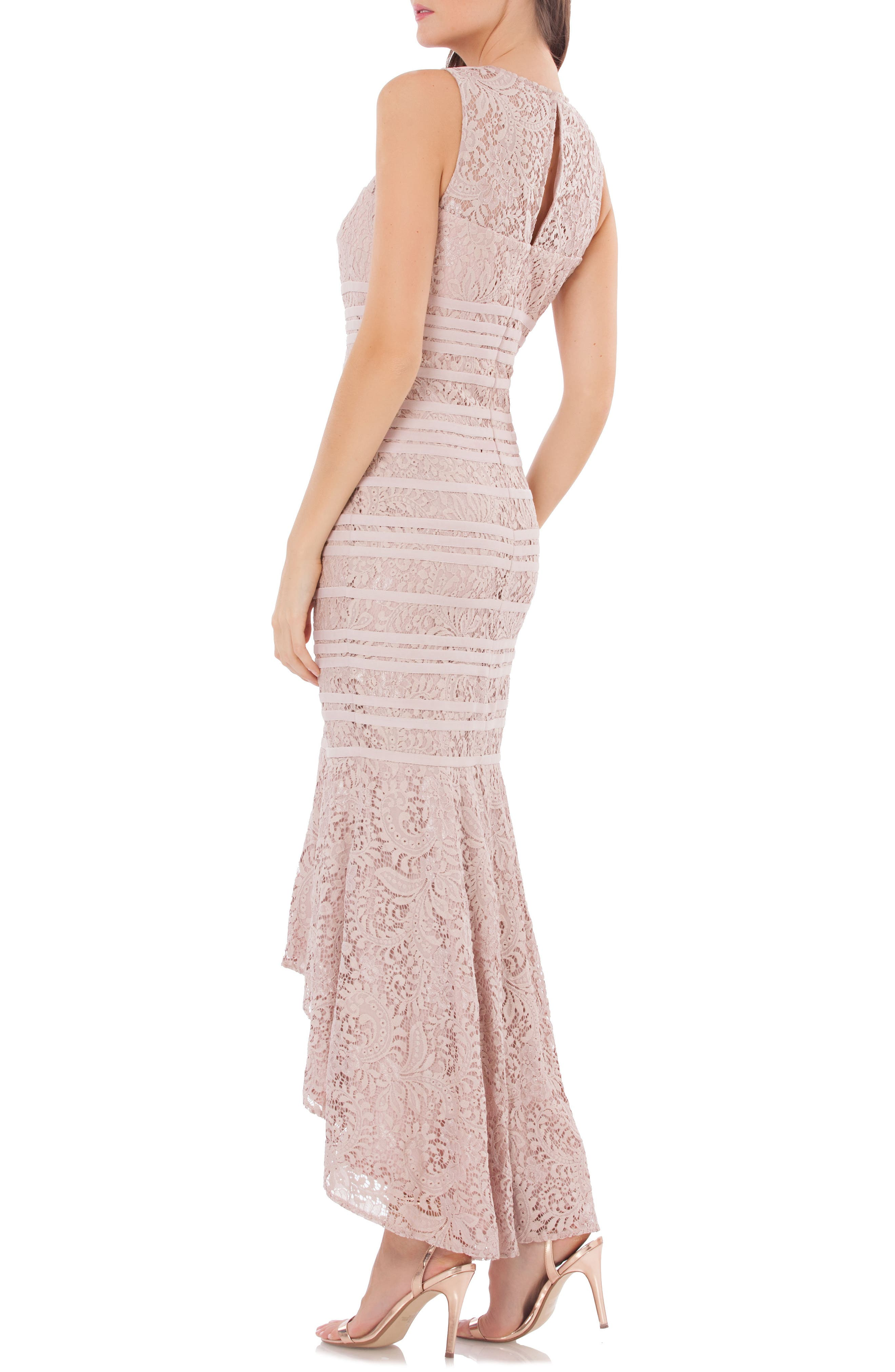 Lace High/Low Gown,                             Alternate thumbnail 2, color,                             BLUSH