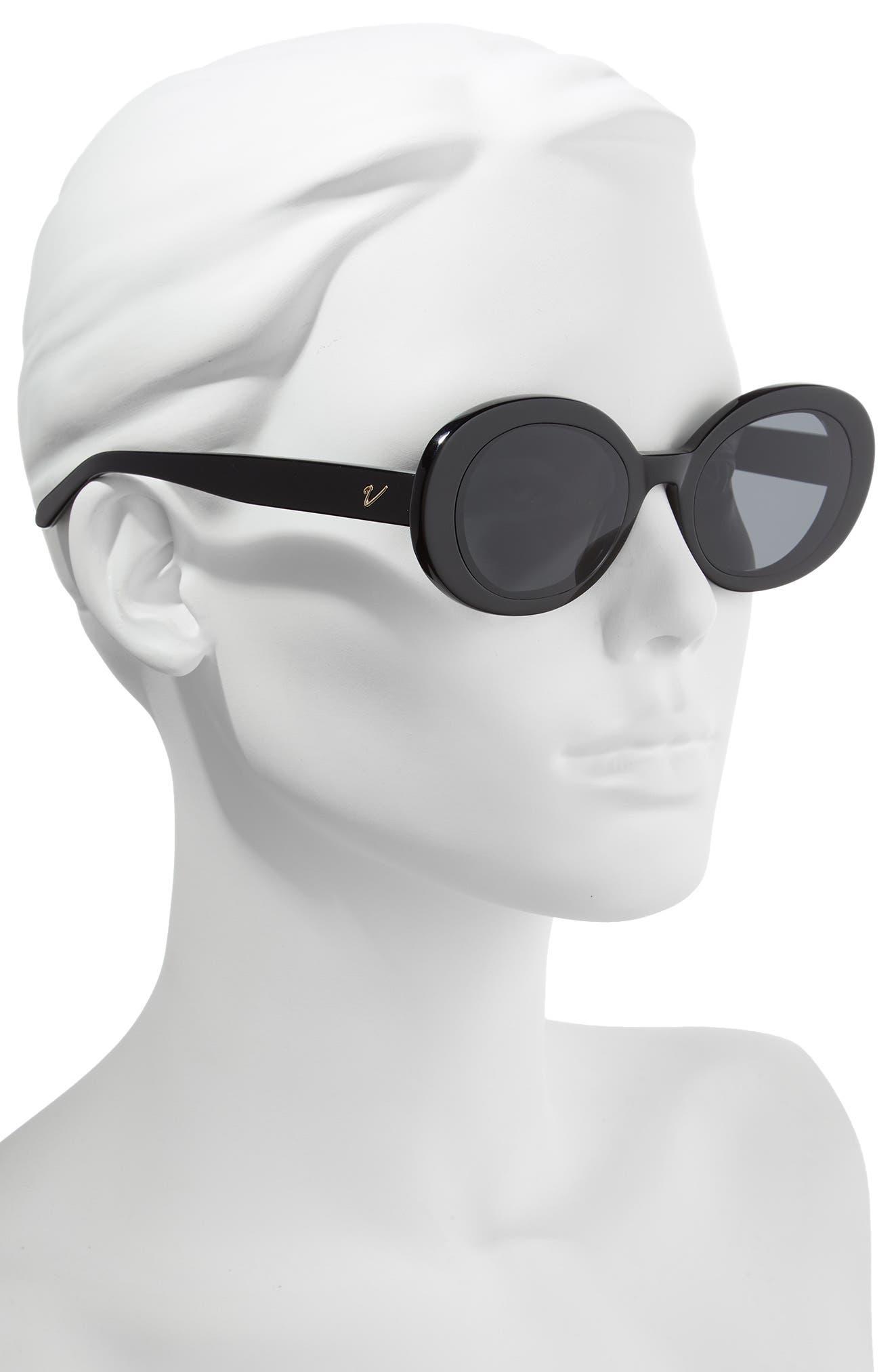 Selena 52mm Oval Sunglasses,                             Alternate thumbnail 2, color,                             BLACK/ SMOKE