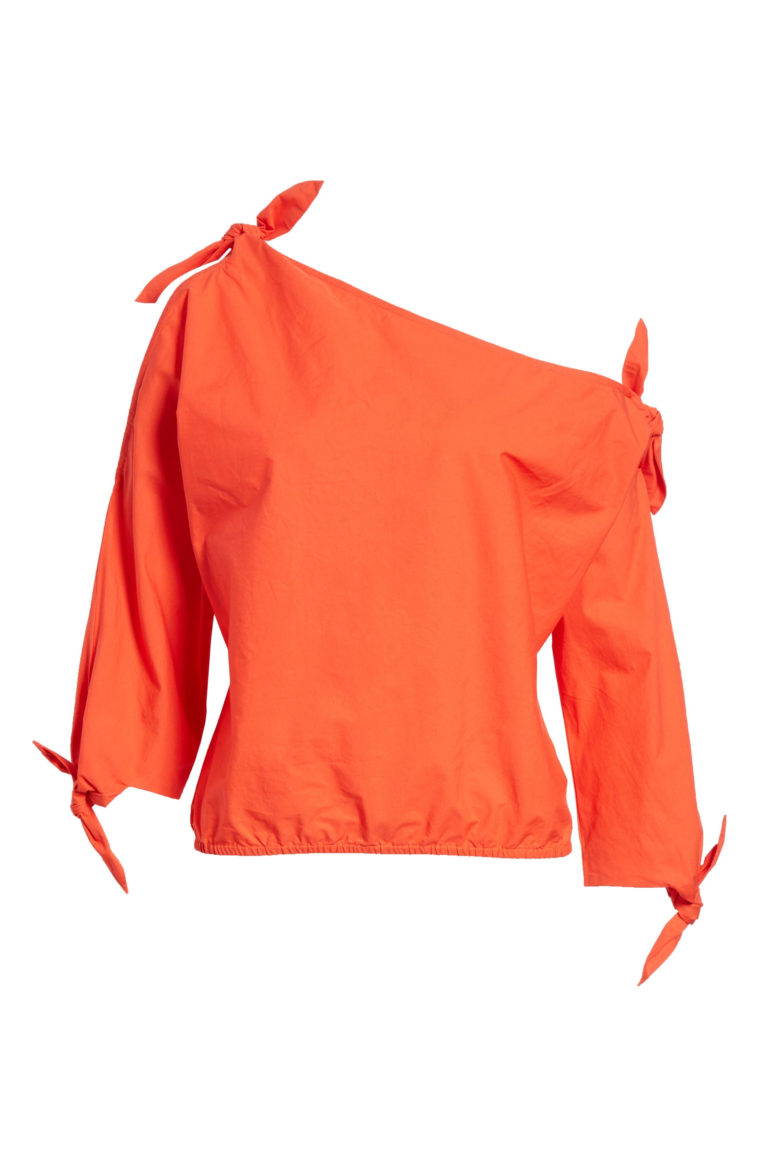 Colissa One-Shoulder Cotton Blouse,                             Alternate thumbnail 6, color,                             800