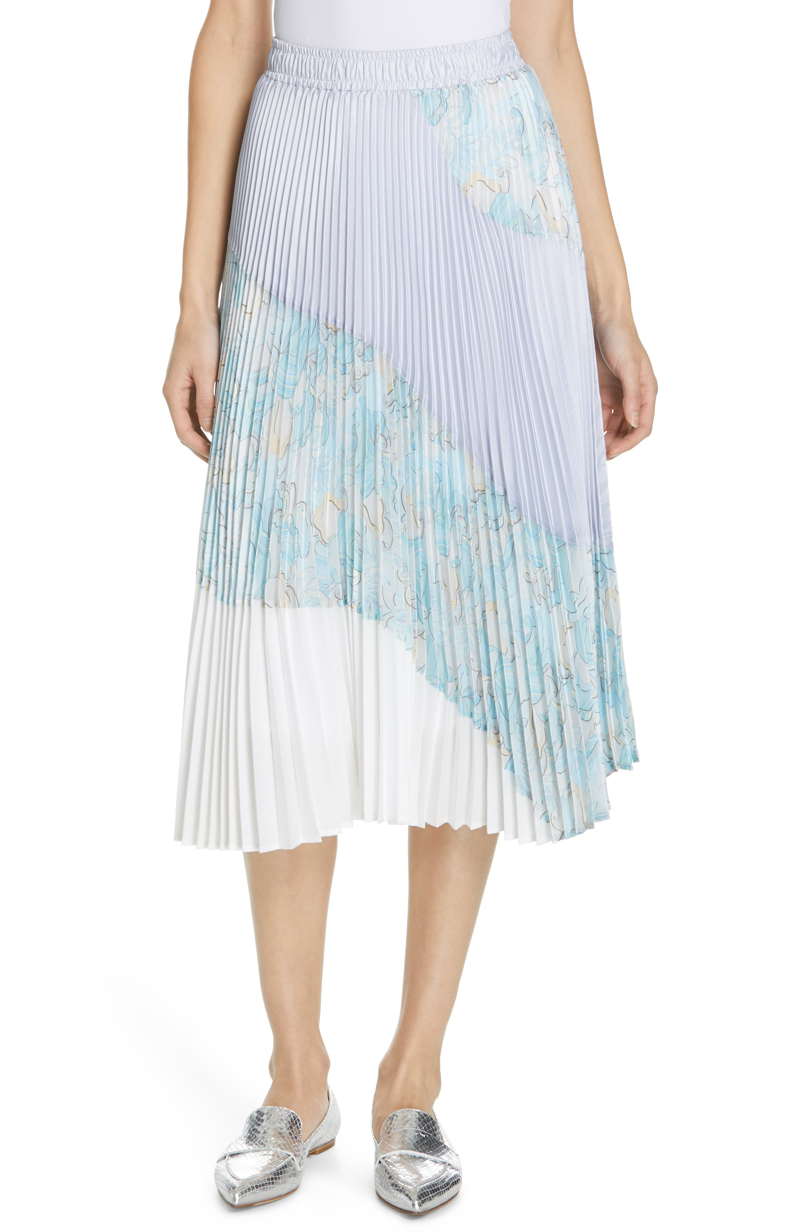 Floral Colorblock Pleated Skirt, Main, color, BLUE