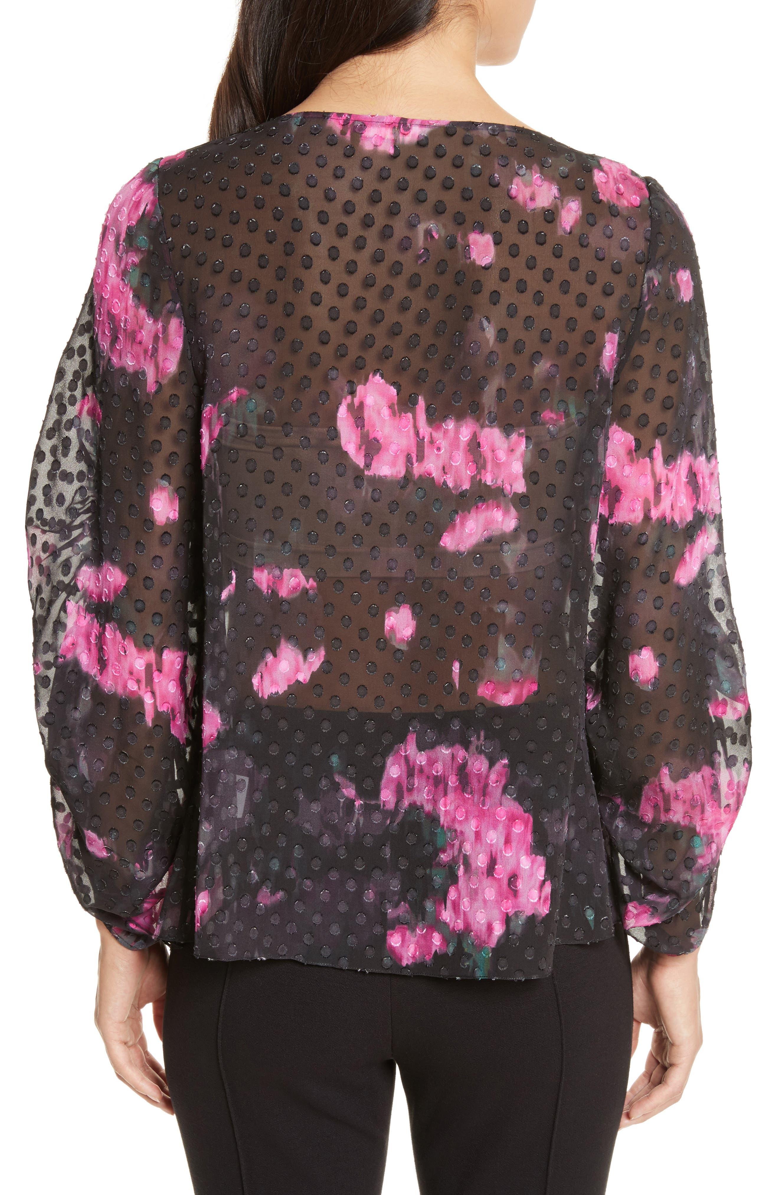 Floral Silk Blouse,                             Alternate thumbnail 2, color,                             009