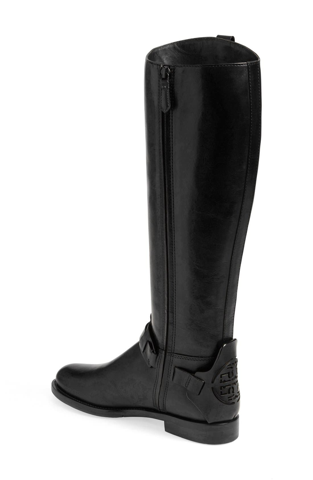 'Derby' Leather Riding Boot,                             Alternate thumbnail 4, color,                             001