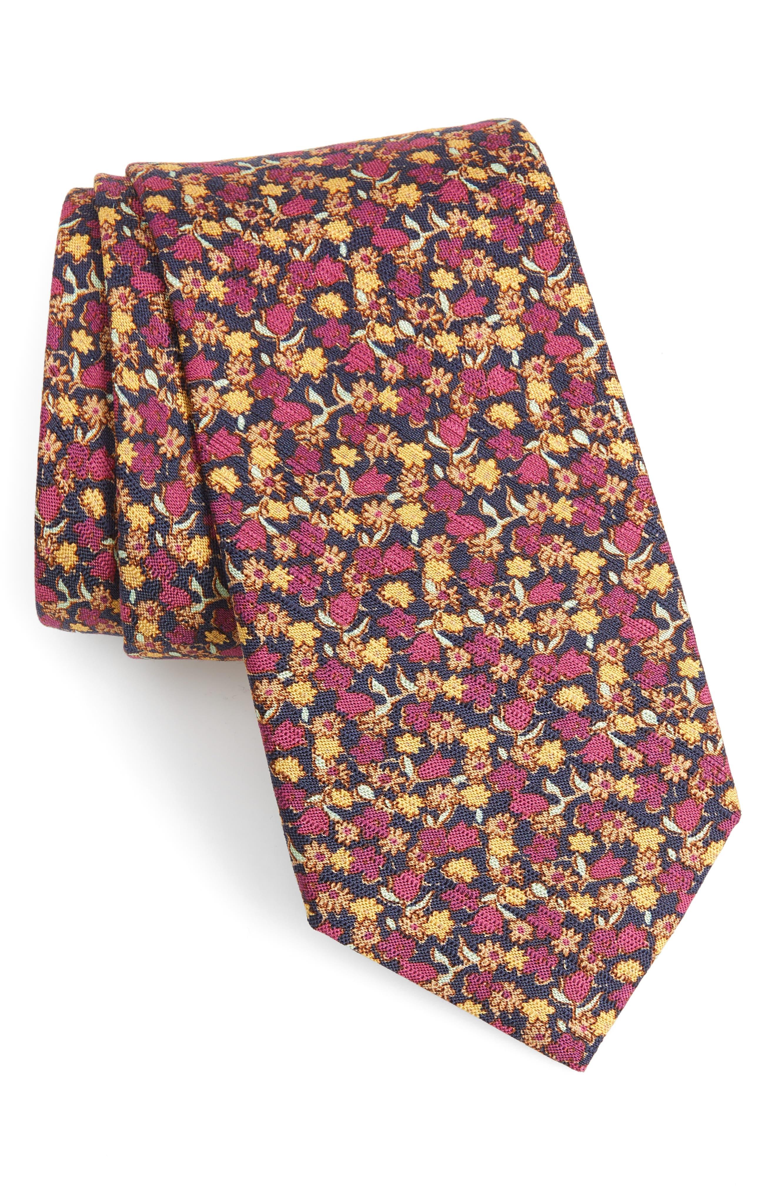 Summer Isles Floral Cotton & Silk Tie,                             Main thumbnail 1, color,                             BLUE