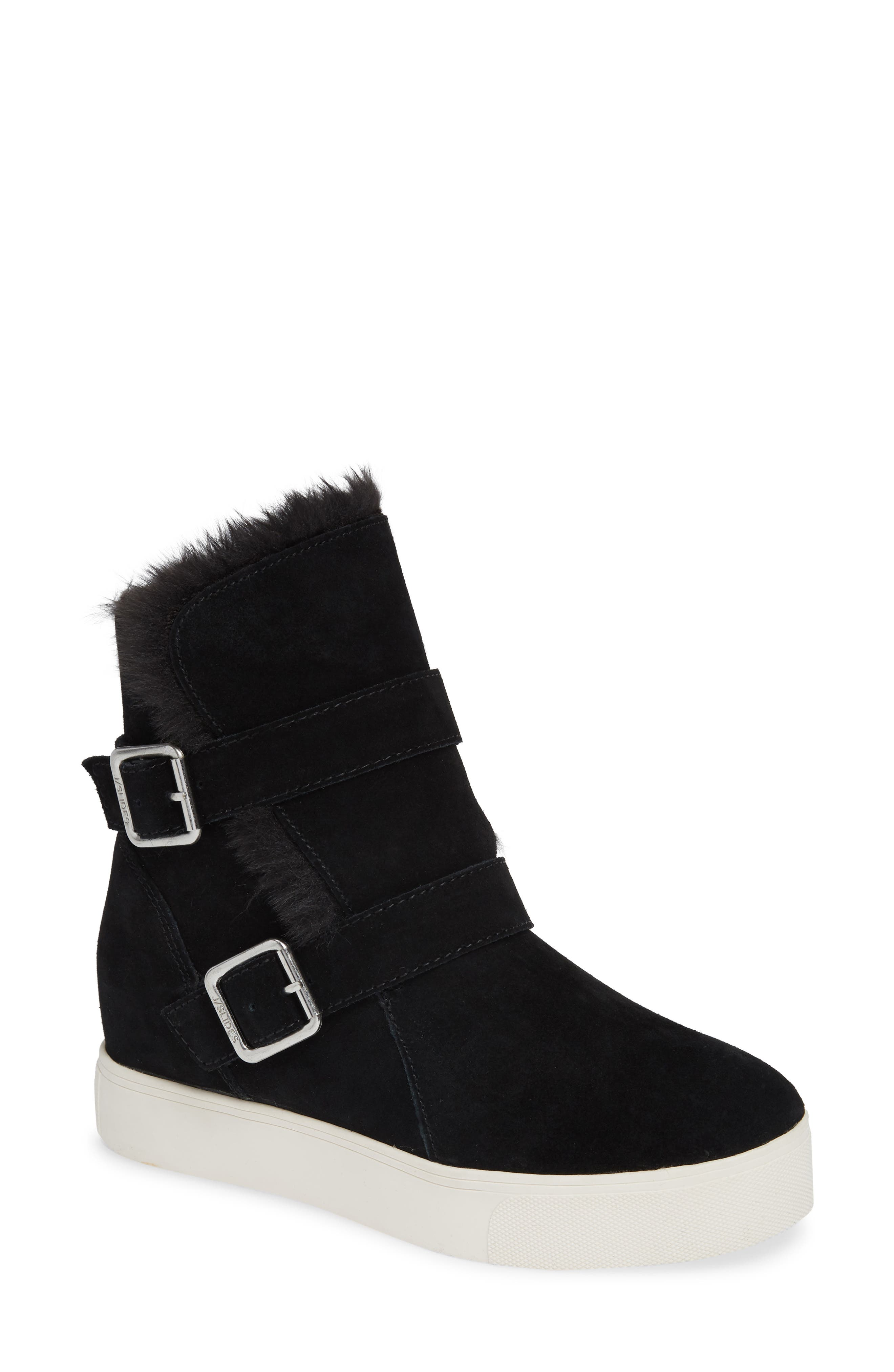JSLIDES Wells Faux Fur Trim High Top Sneaker in Black Suede