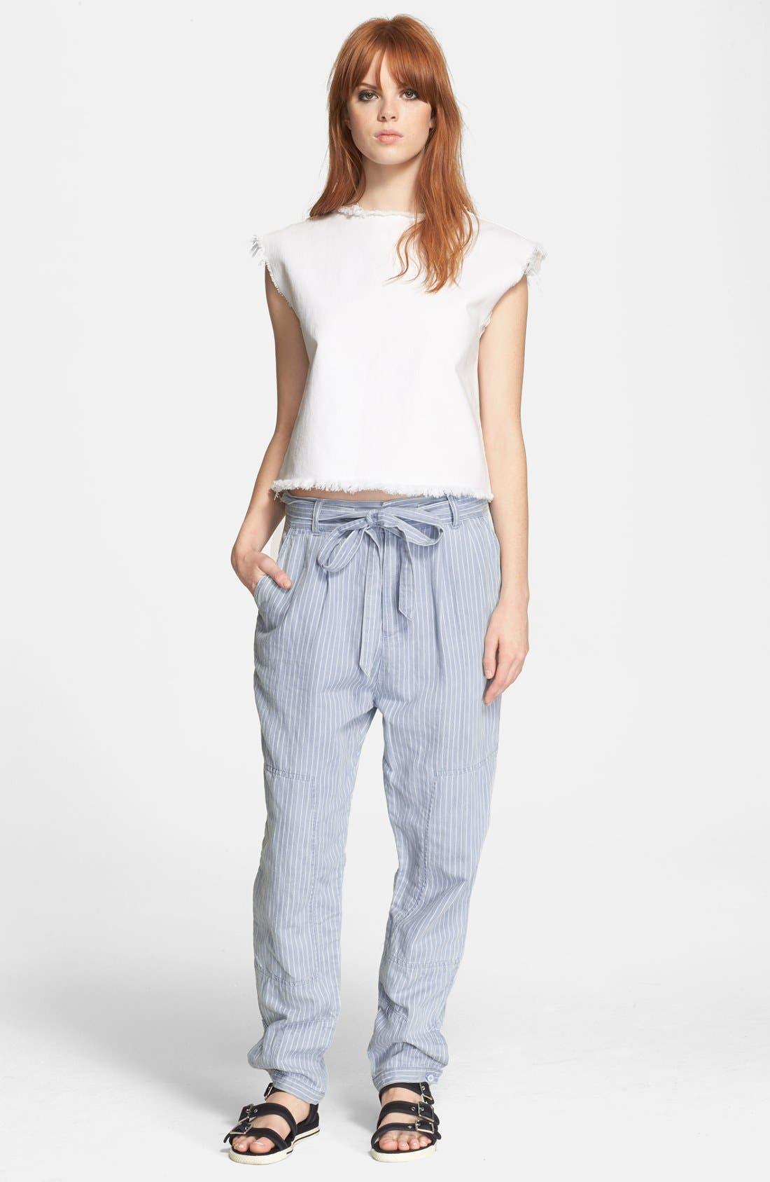 Stripe Cotton & Linen Trousers,                             Alternate thumbnail 4, color,                             401