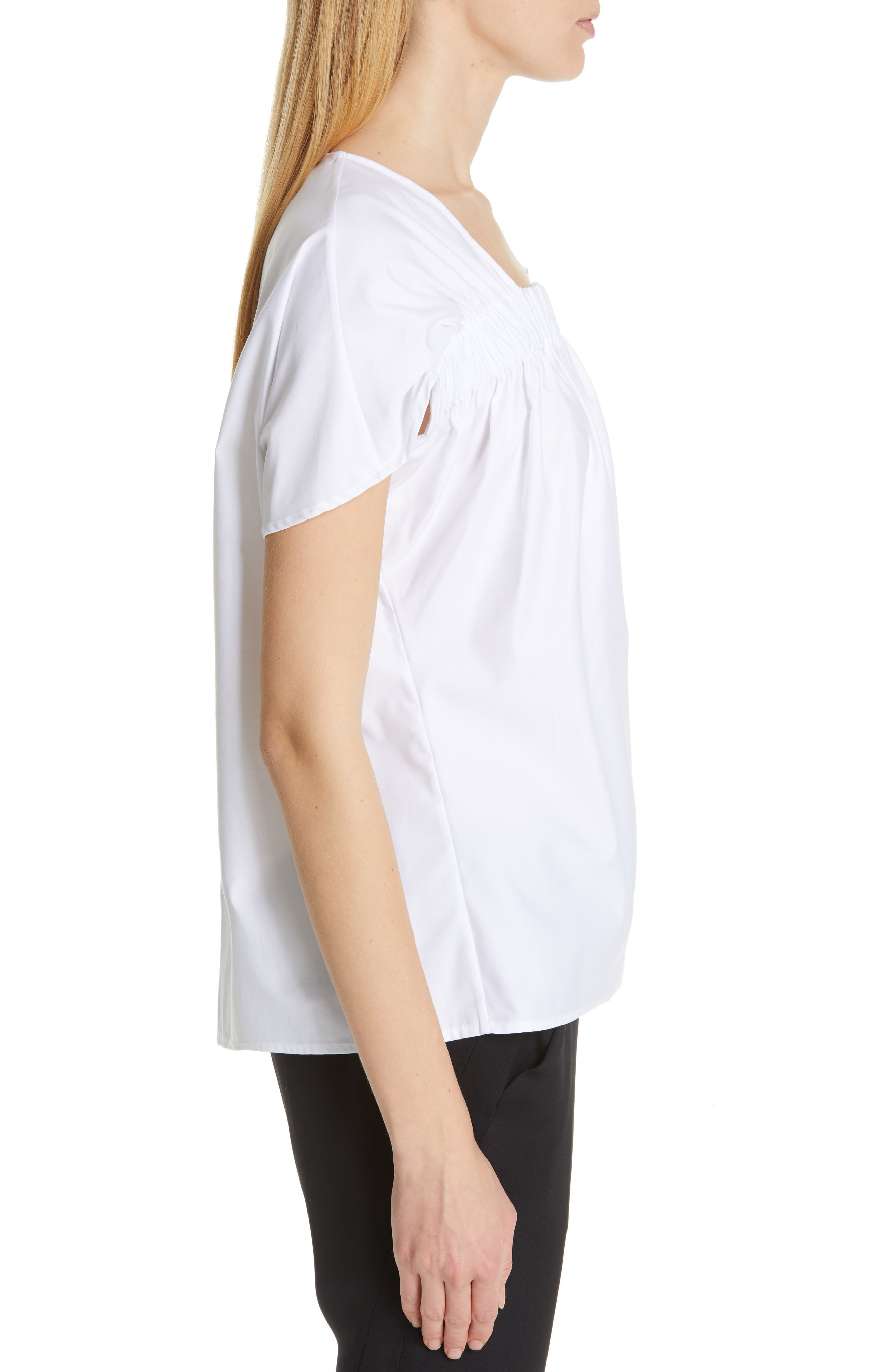 Ruched Cotton Poplin Top,                             Alternate thumbnail 3, color,                             WHITE PEPPER