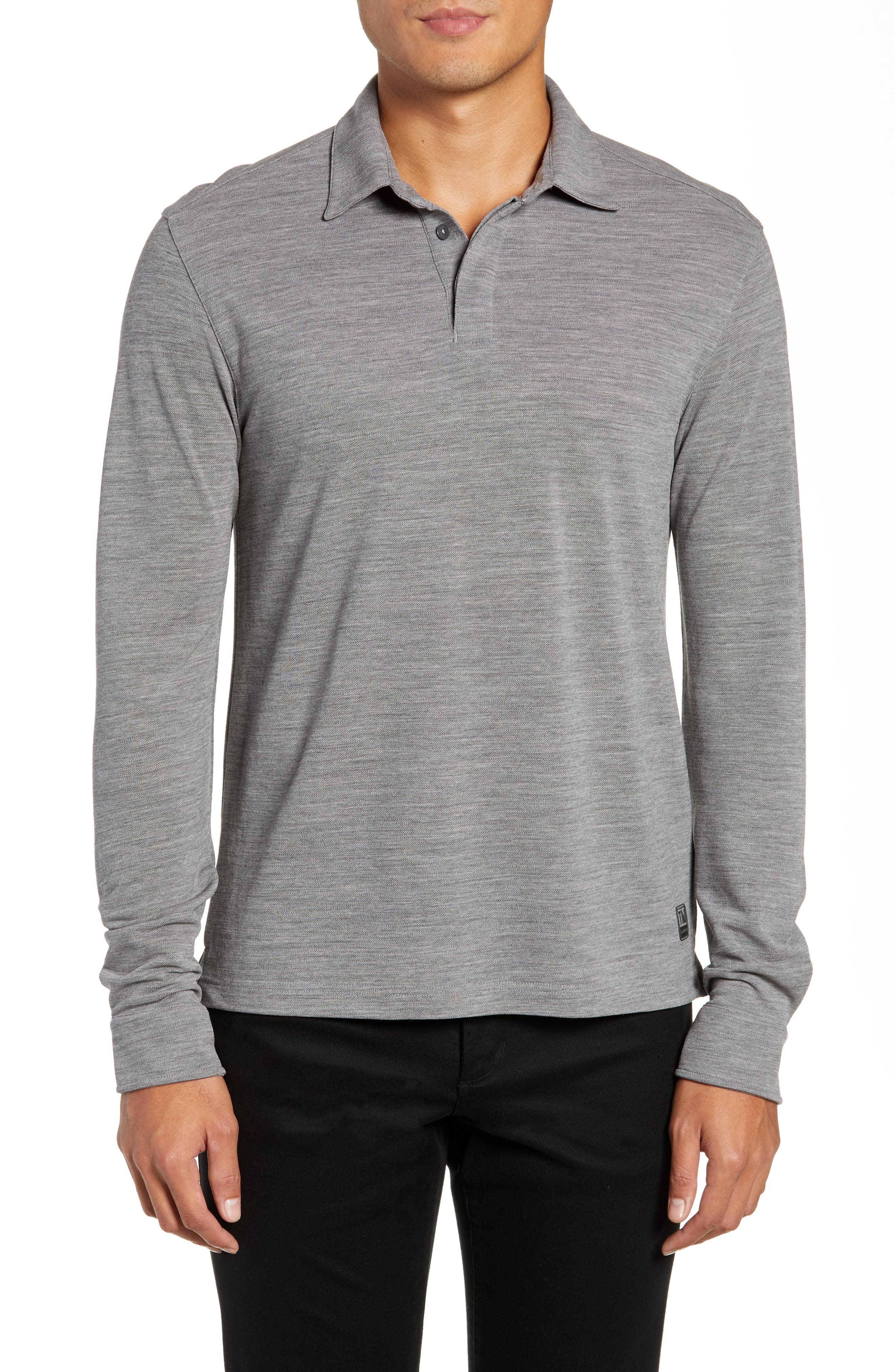 Z ZEGNA Long-Sleeve Wool Polo Shirt With Logo in Grey